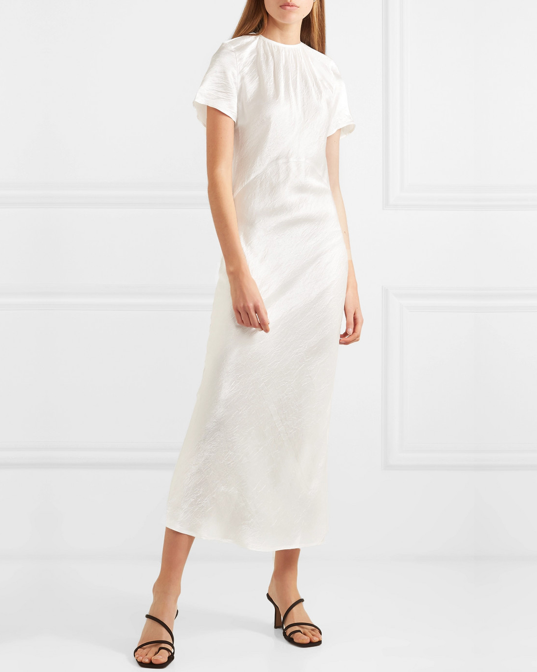 white crinkled-satin midi dress