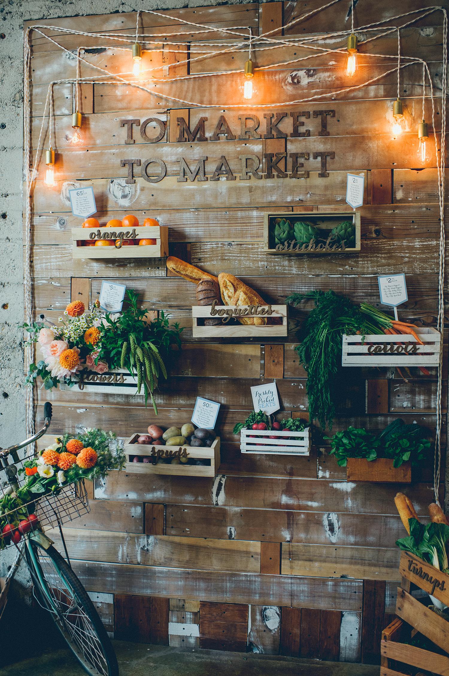 farmers market inspired food wall