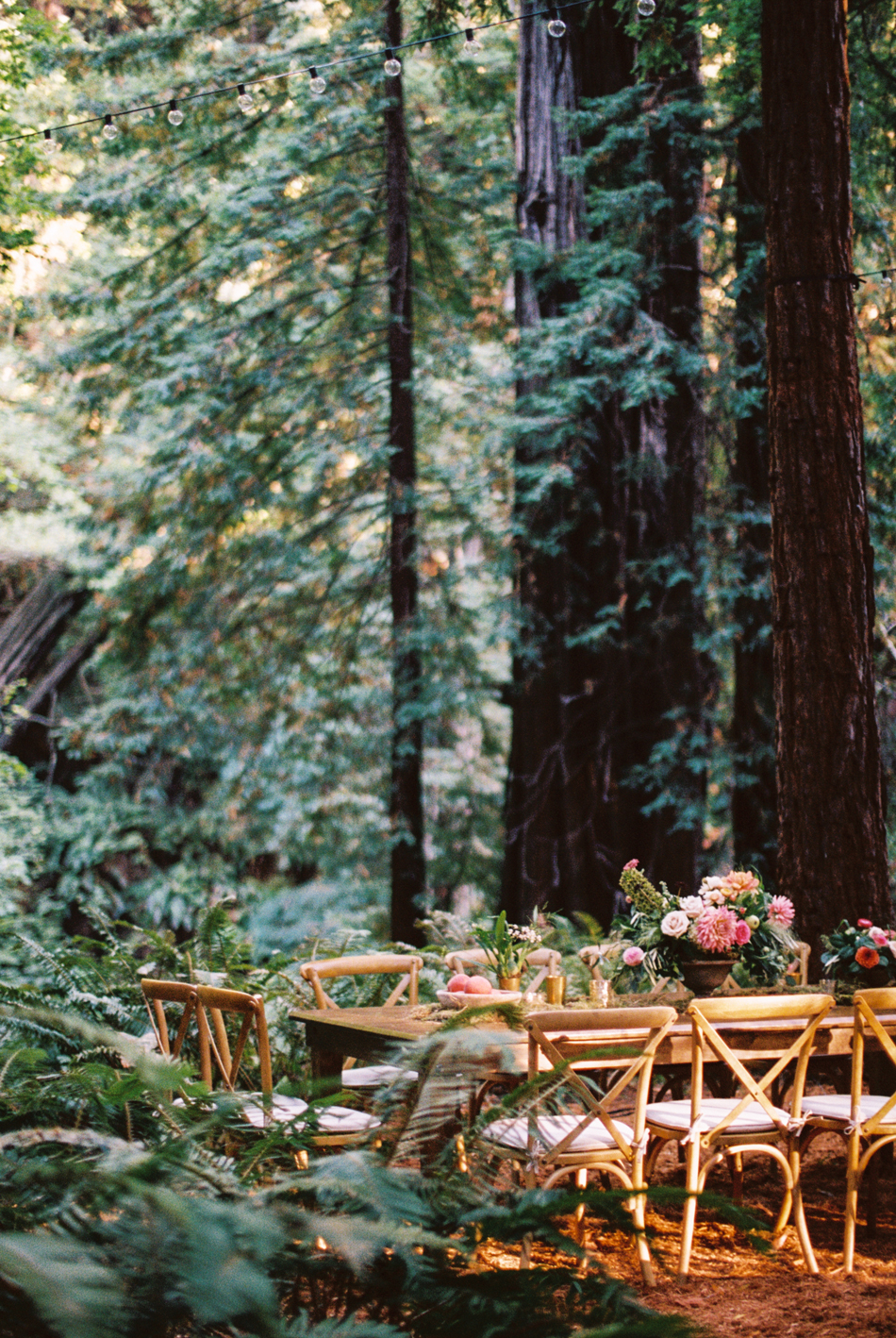 medieval-feast-style outdoor wedding reception set up