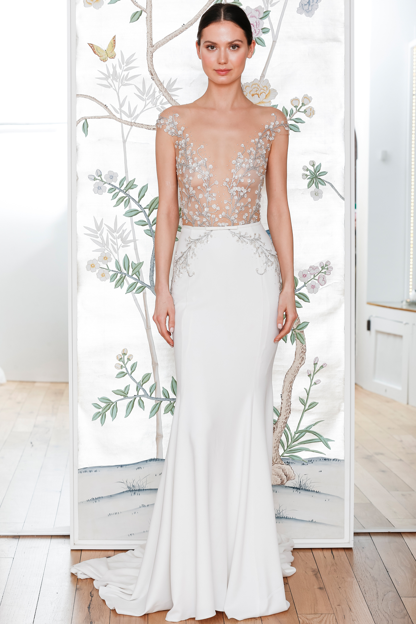 lee petra grebenau sheer beaded off the shoulder top and skirt with sequin embellishments wedding dress spring 2020