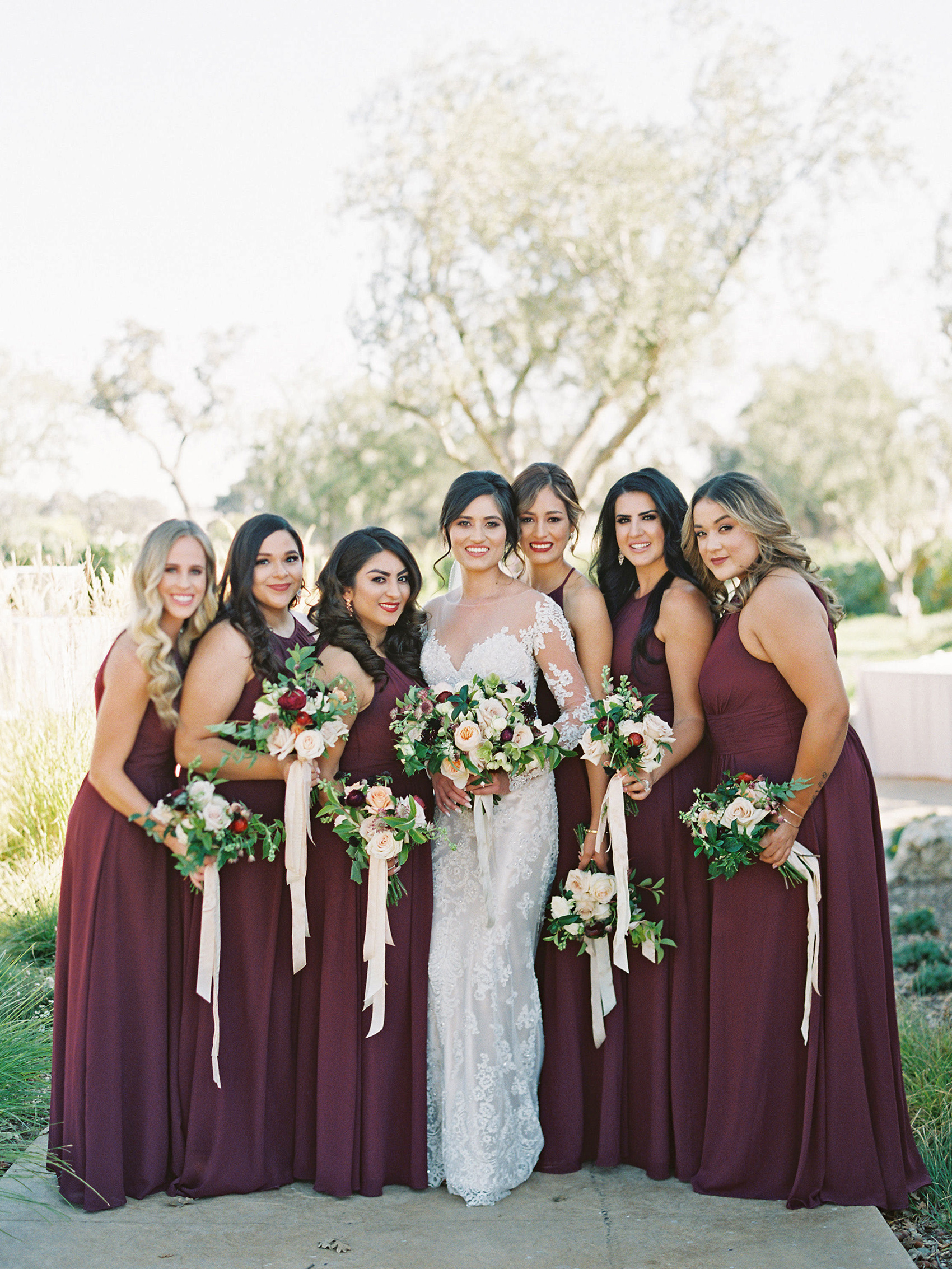 dianna amar wedding bridesmaids in maroon