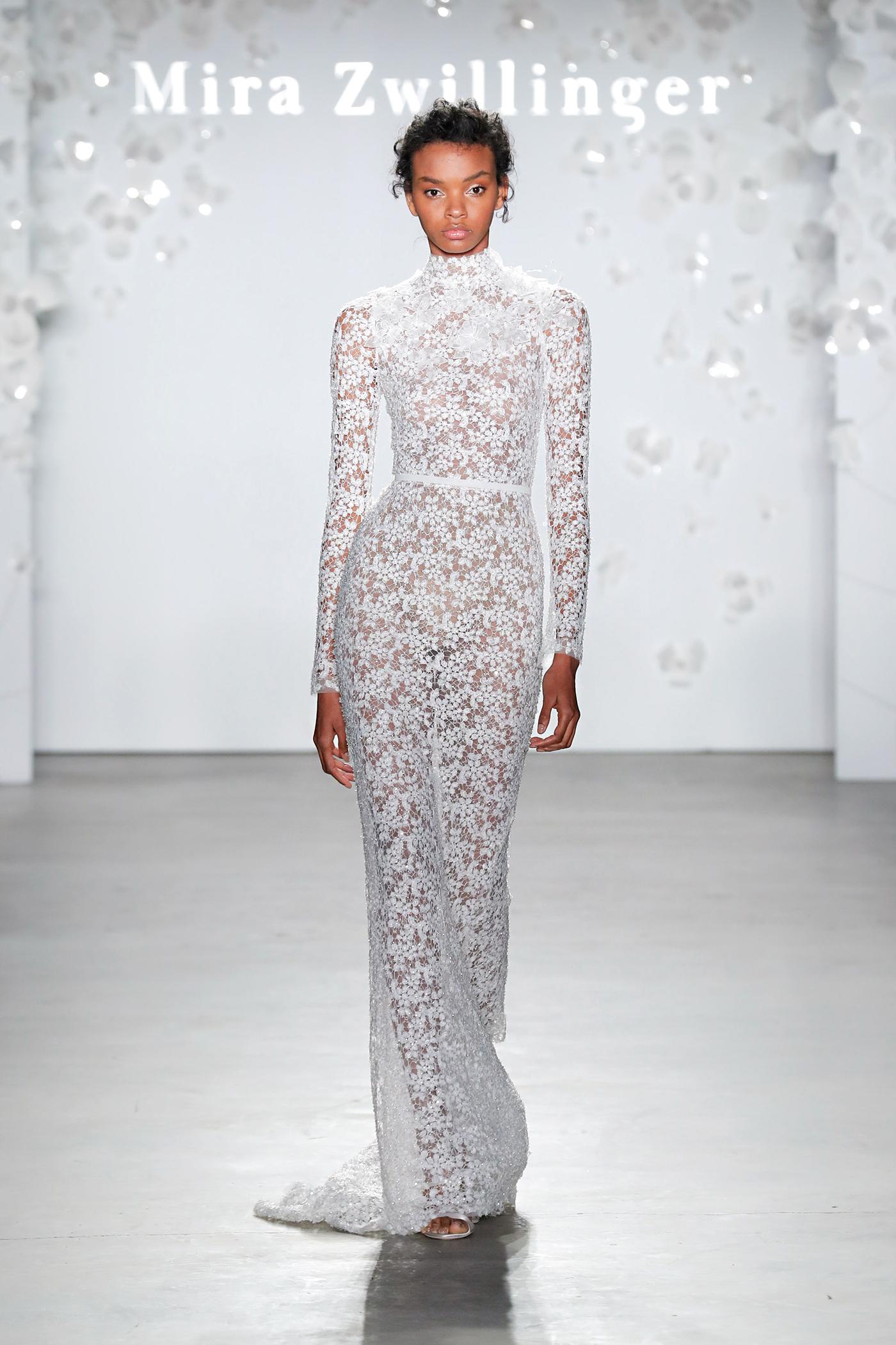 mira zwillinger long-sleeved high-neck wedding dress spring 2020