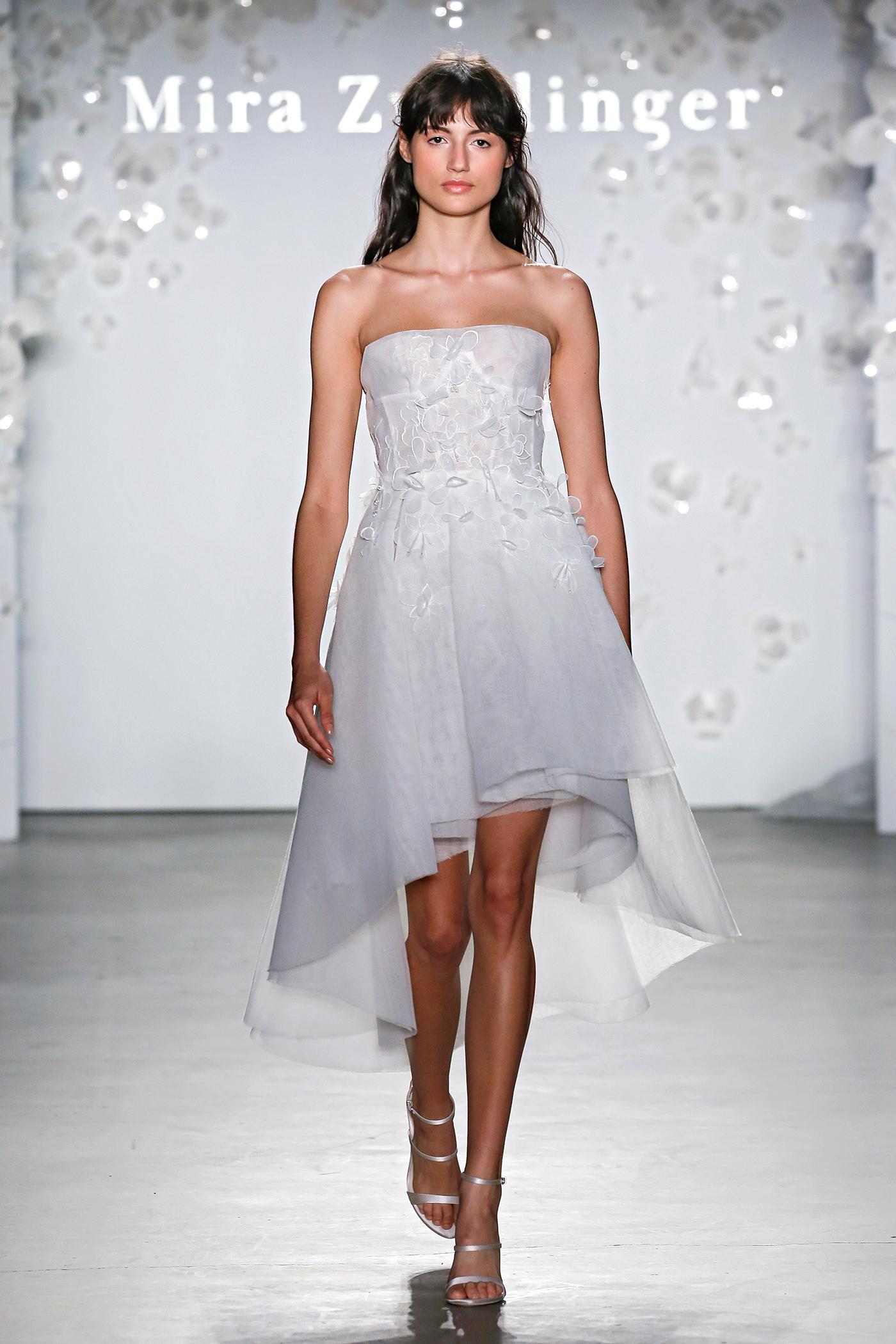 mira zwillinger strapless high-low wedding dress spring 2020