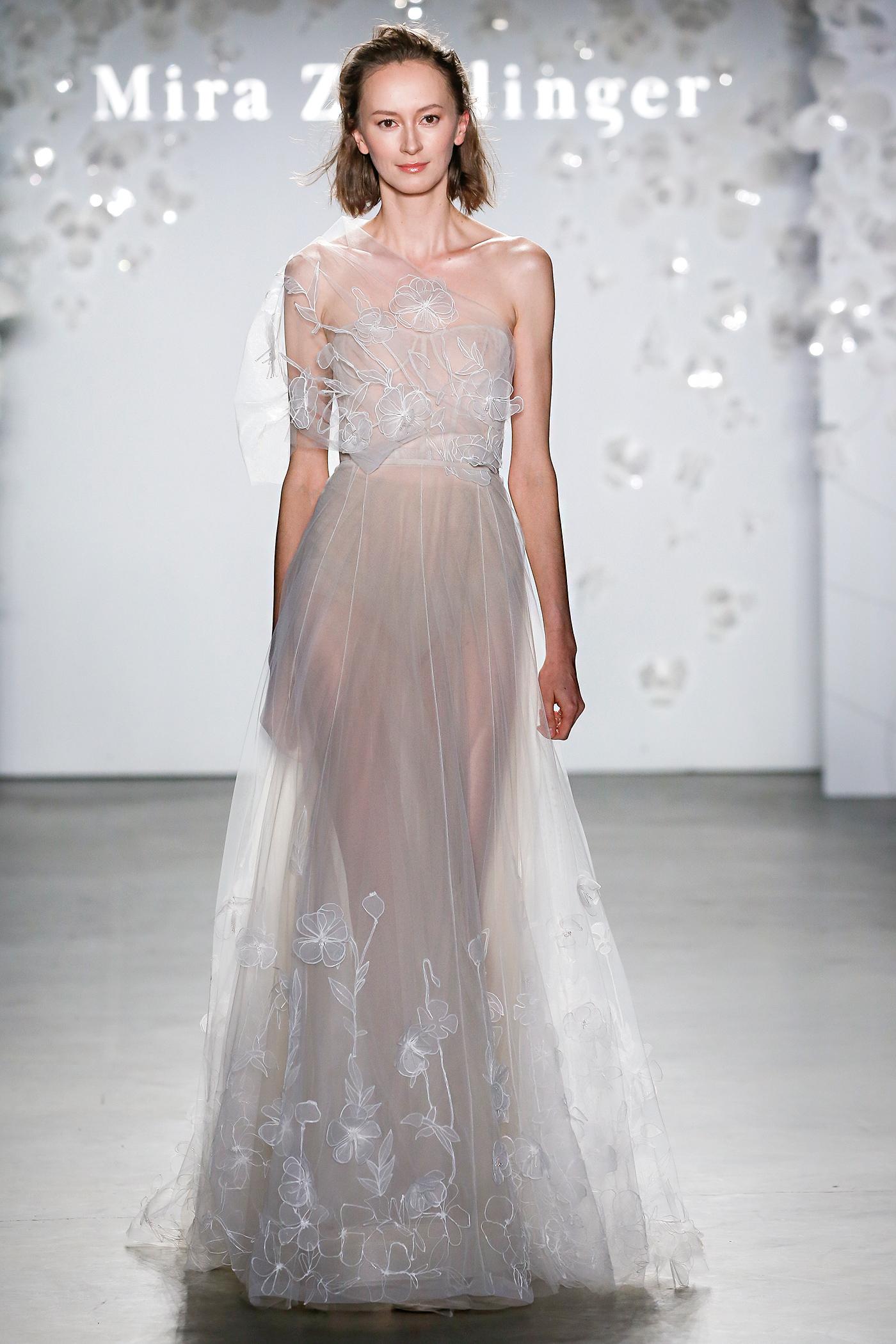 mira zwillinger sheer one-shoulder wedding dress spring 2020