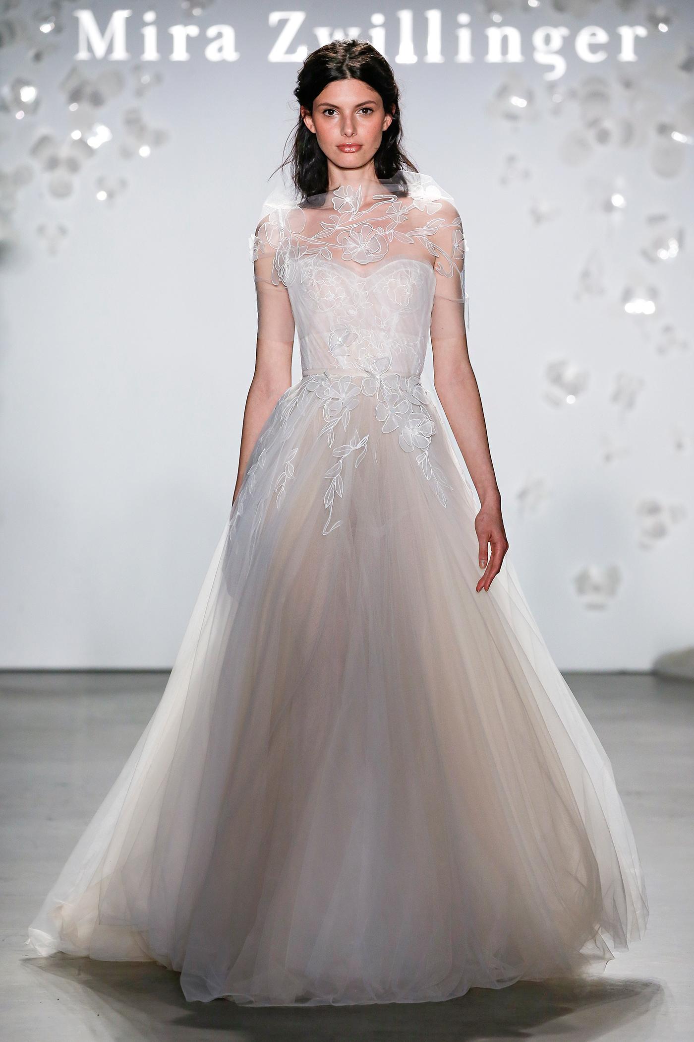 mira zwillinger sweetheart sheer capelet wedding dress spring 2020