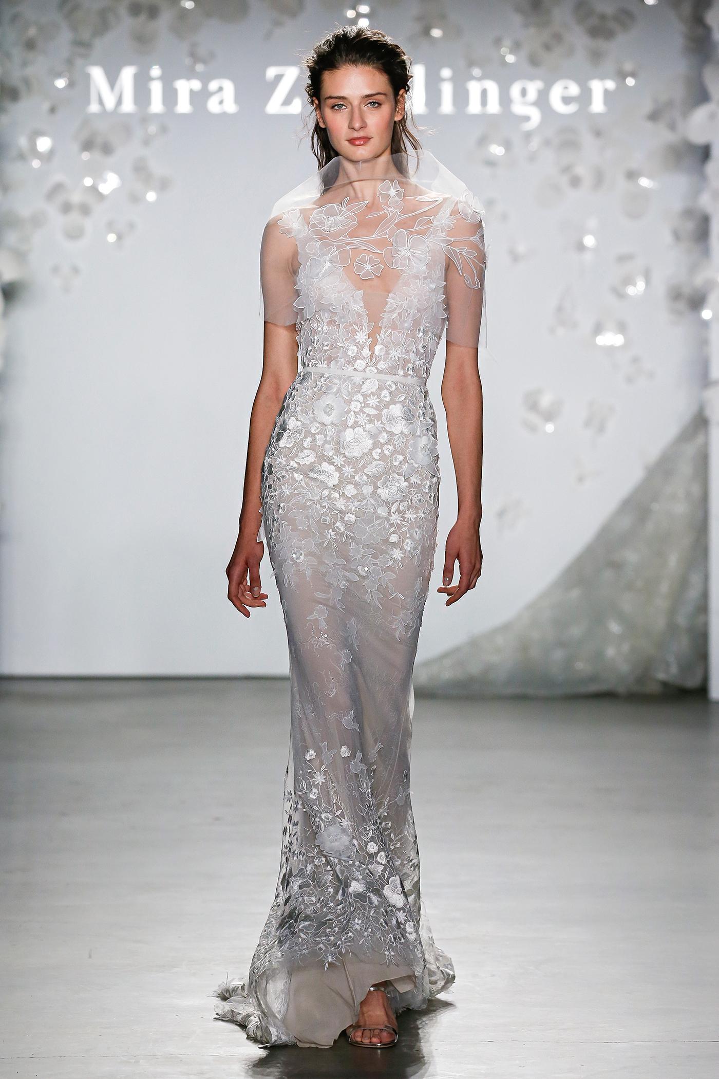 mira zwillinger floral embroidered sheath wedding dress spring 2020