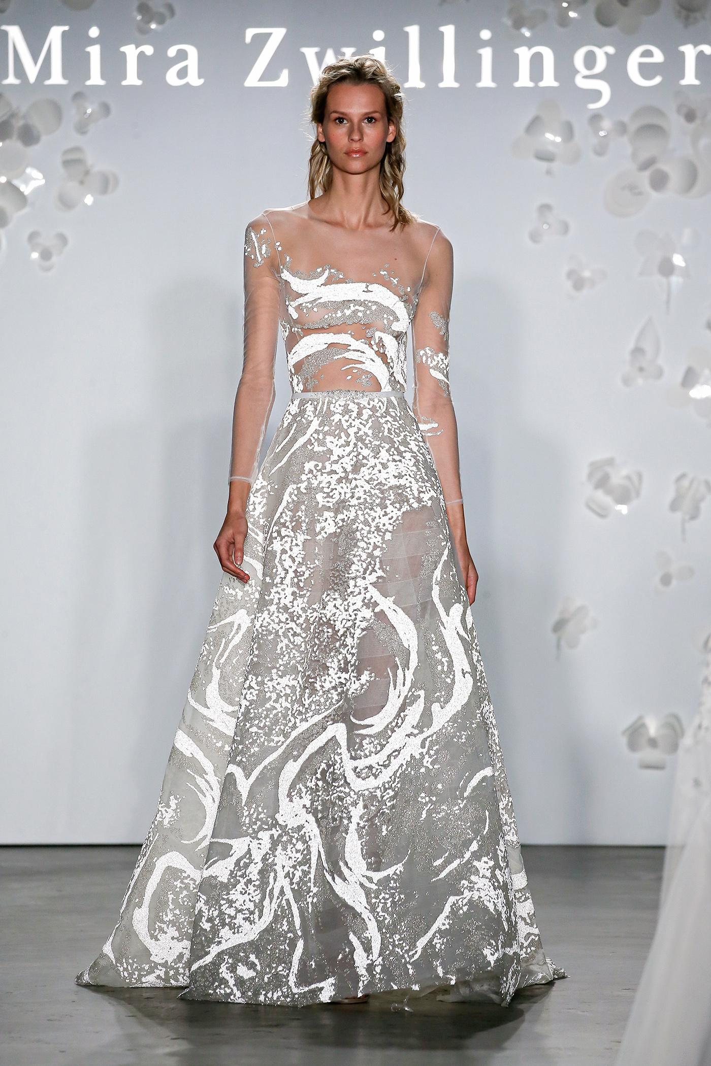 mira zwillinger sheer abstract beadwork wedding dress spring 2020