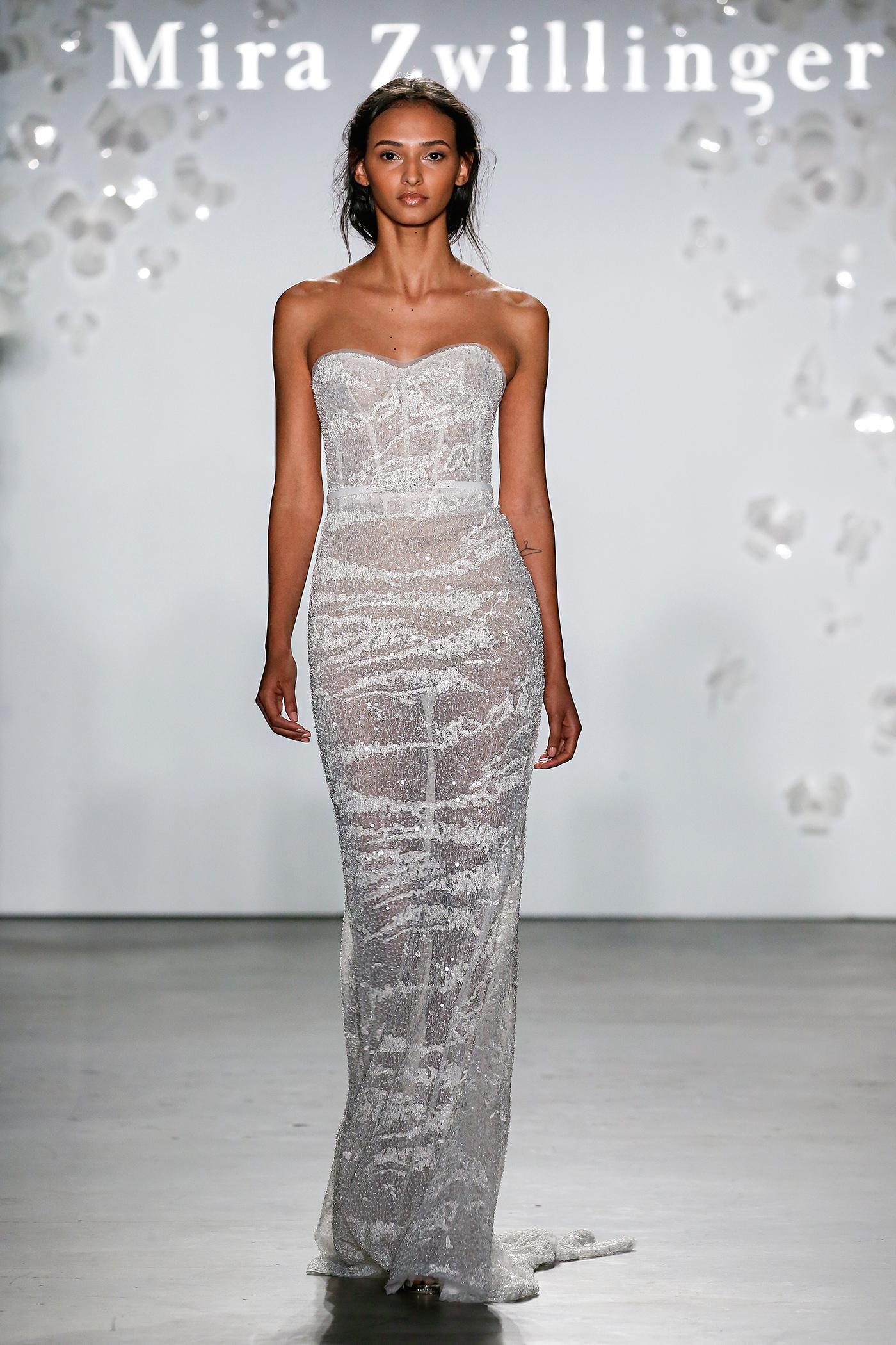 mira zwillinger strapless beaded sheath wedding dress spring 2020