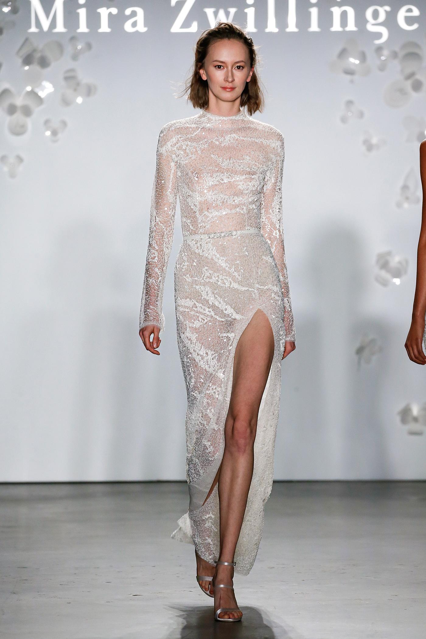 mira zwillinger long-sleeved slit wedding dress spring 2020