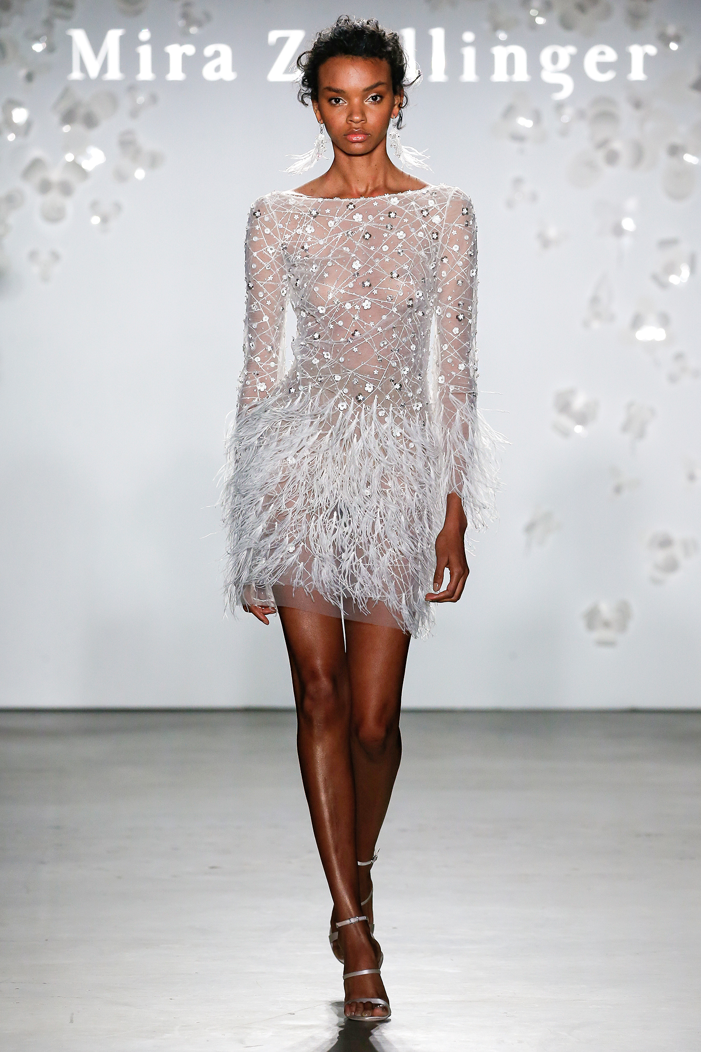 mira zwillinger short embroidered feathers wedding dress spring 2020