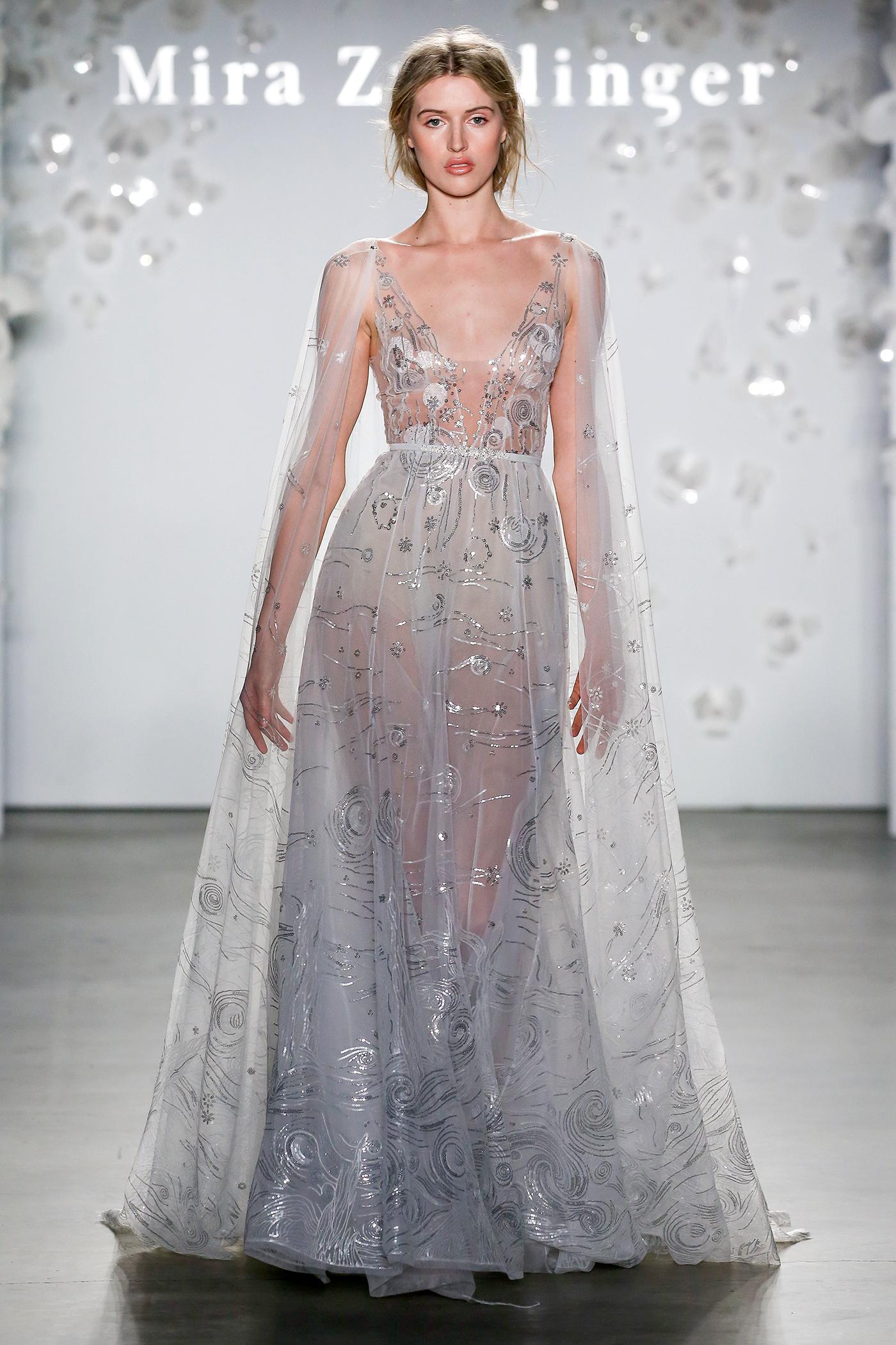 mira zwillinger beaded sheer cape wedding dress spring 2020