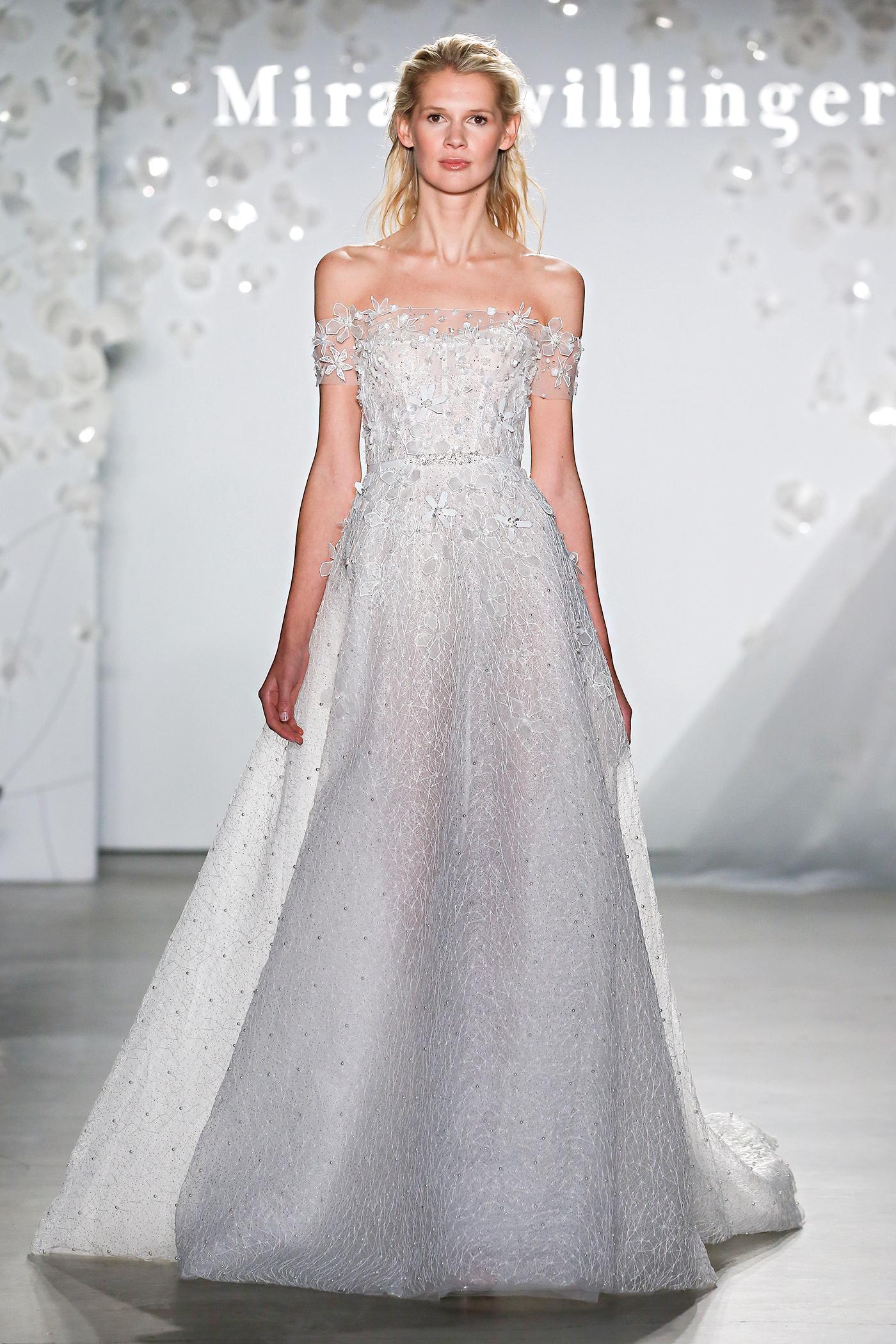 mira zwillinger off-the-shoulder a-line wedding dress spring 2020