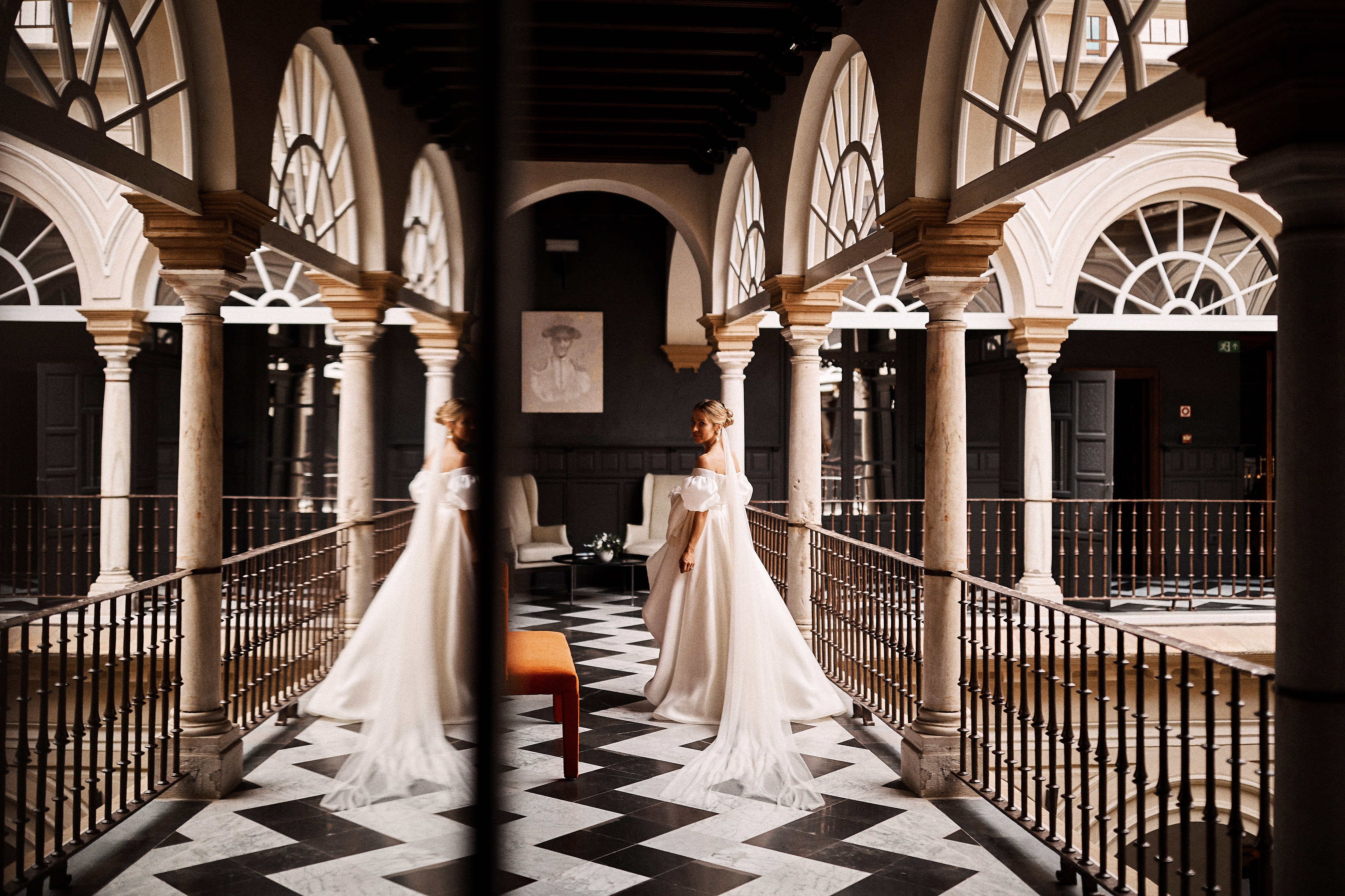 karolina sorab wedding bride looking back mirror