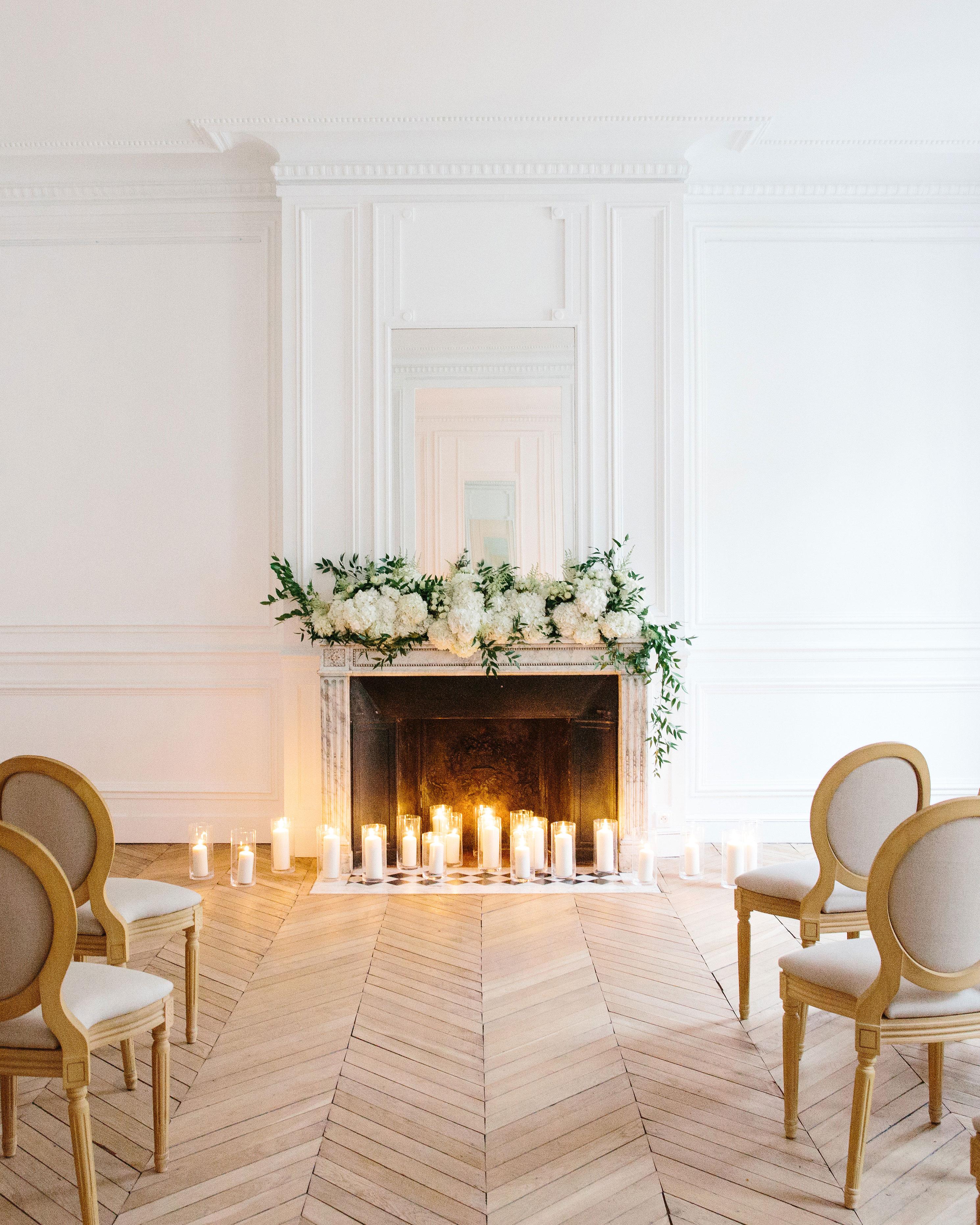 wedding ceremony site fireplace