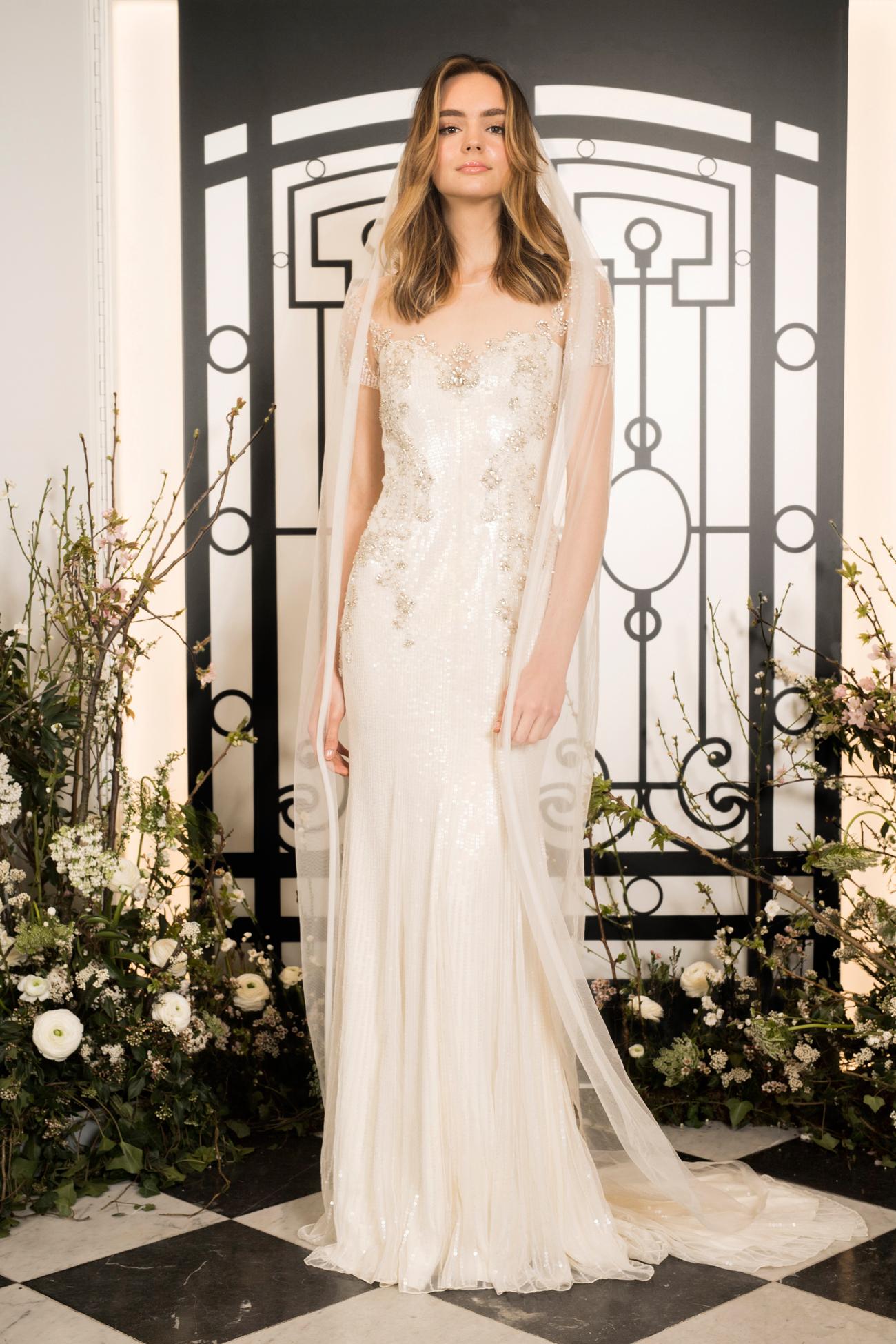 jenny packham illusion sheath wedding dress and veil spring 2020