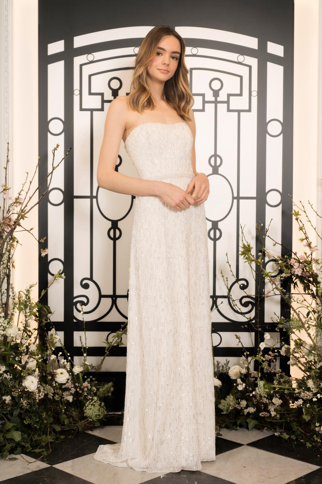 jenny packham strapless beaded sheath wedding dress spring 2020