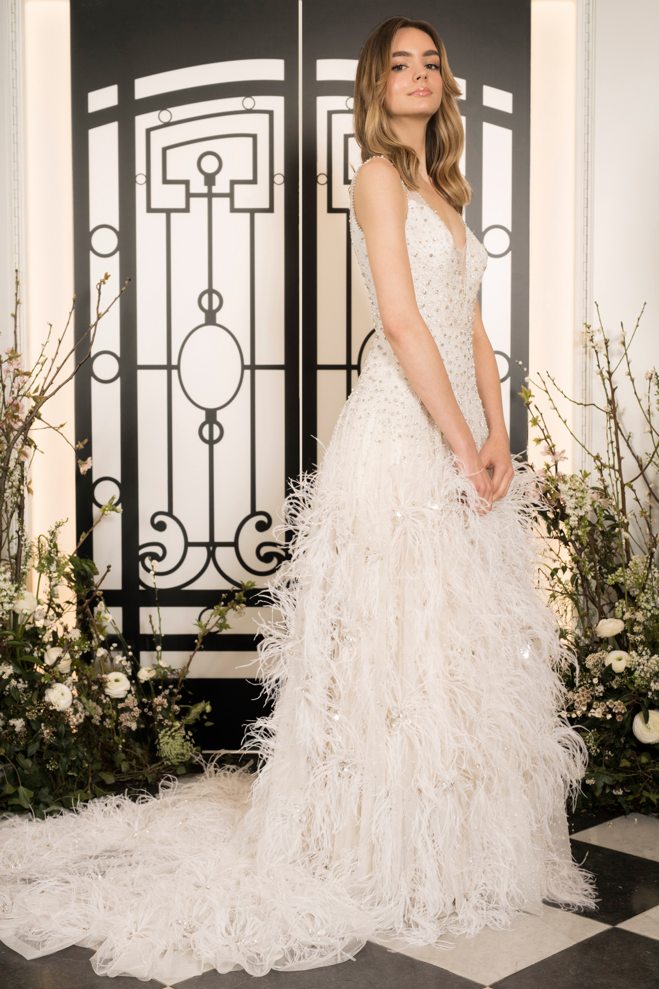 jenny packham feathered and beaded v-neck trumpet wedding dress spring 2020