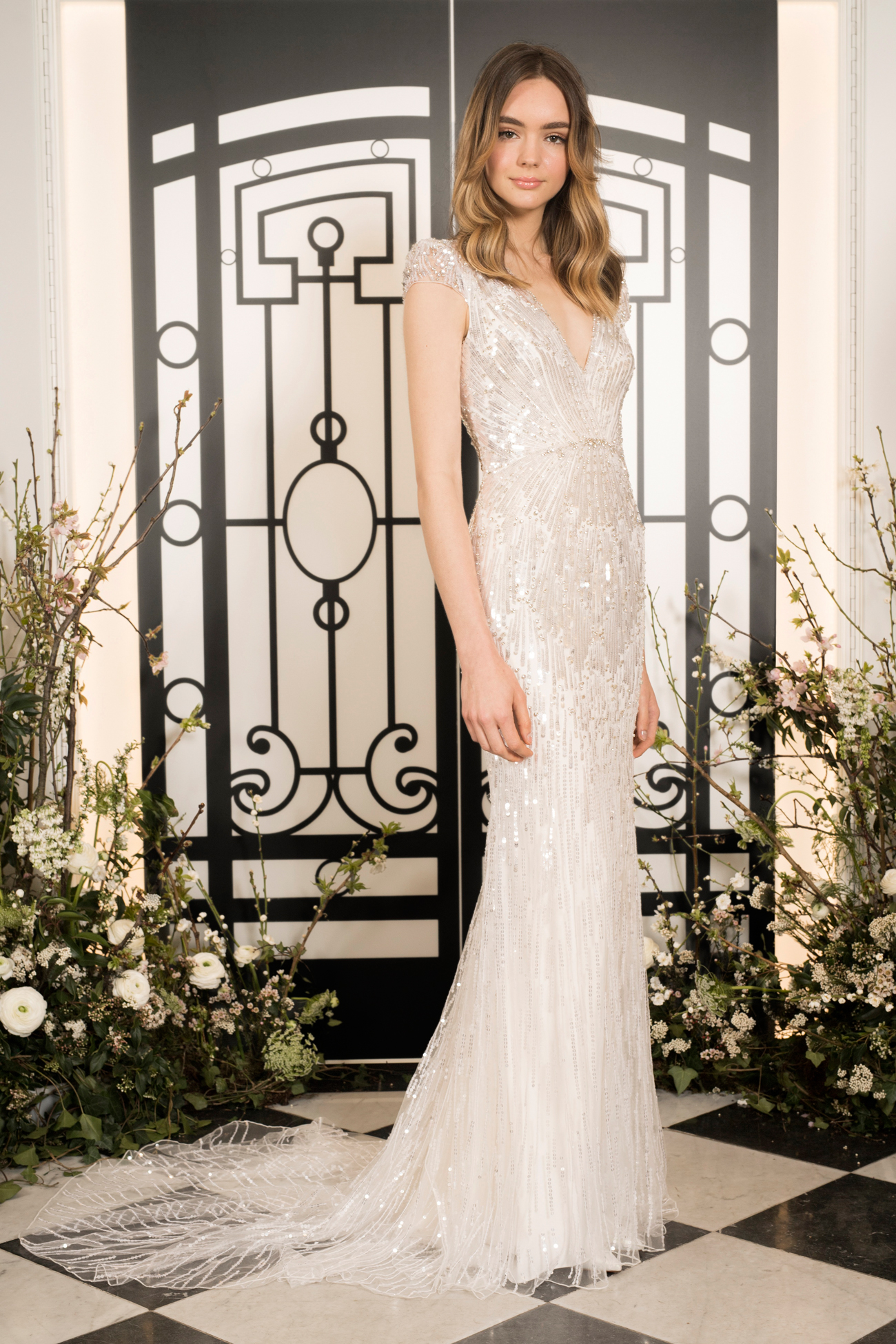 jenny packham beaded cap sleeve v-neck sheath wedding dress spring 2020