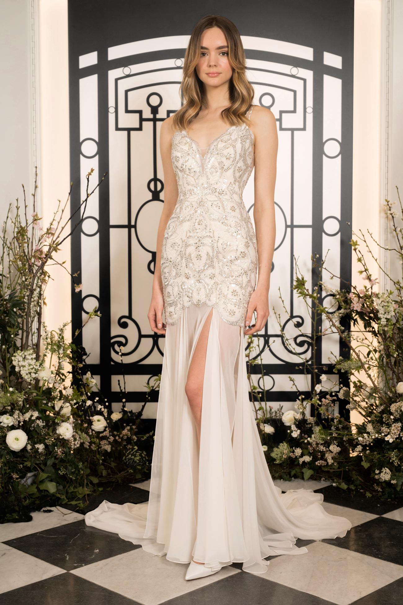 jenny packham beaded spaghetti strap sheath wedding dress with slit spring 2020