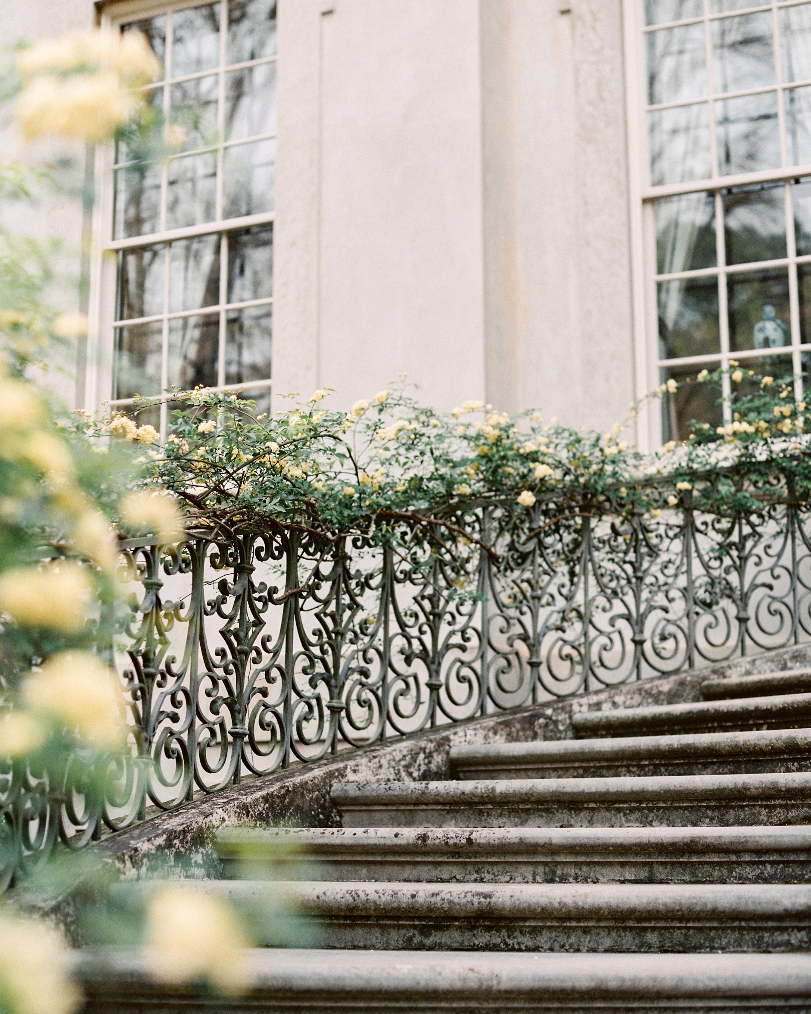 stair banister decor climbing yellow roses iron railing