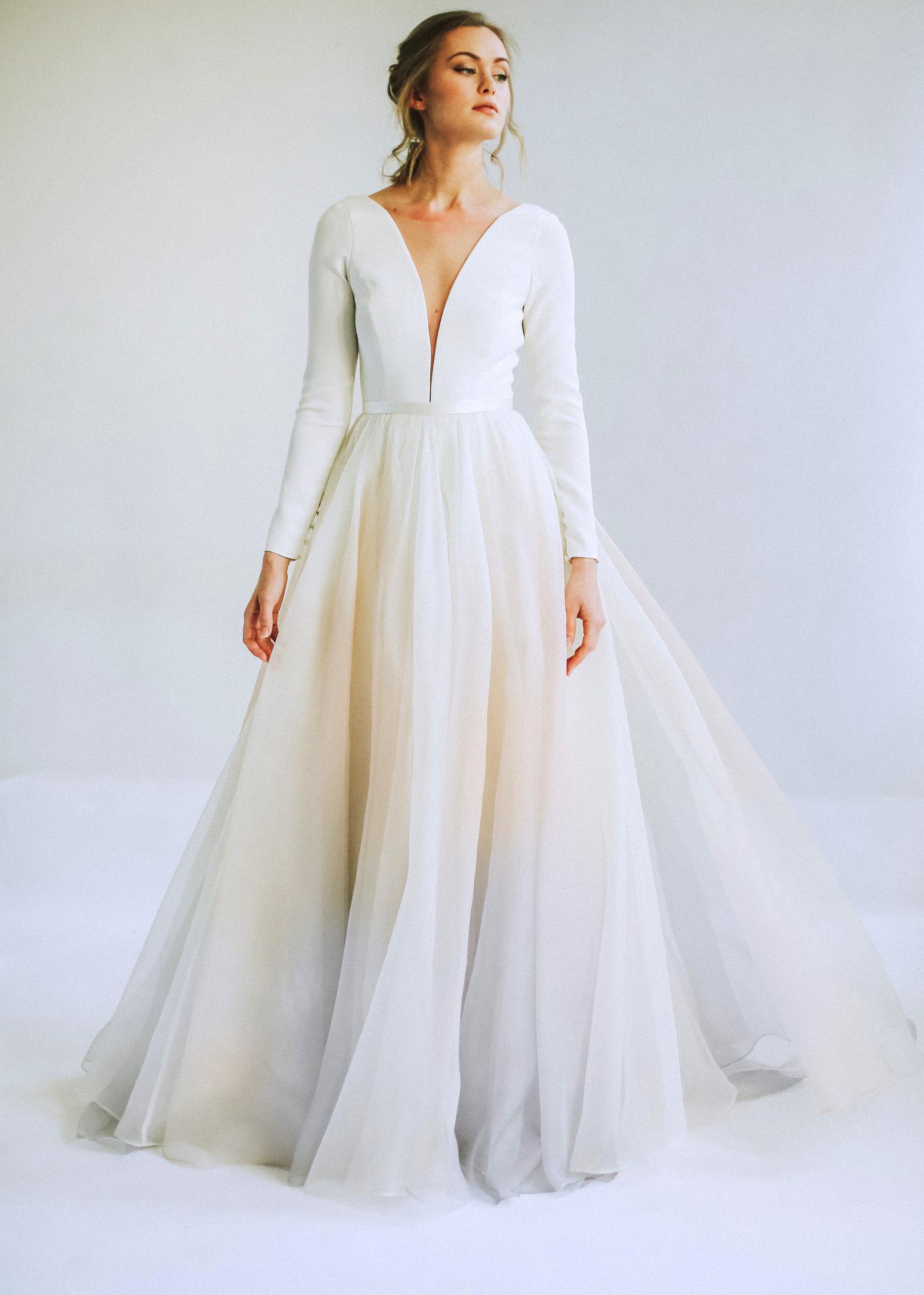 leanna marshall long sleeve deep slit bodice ball gown wedding dress spring 2020