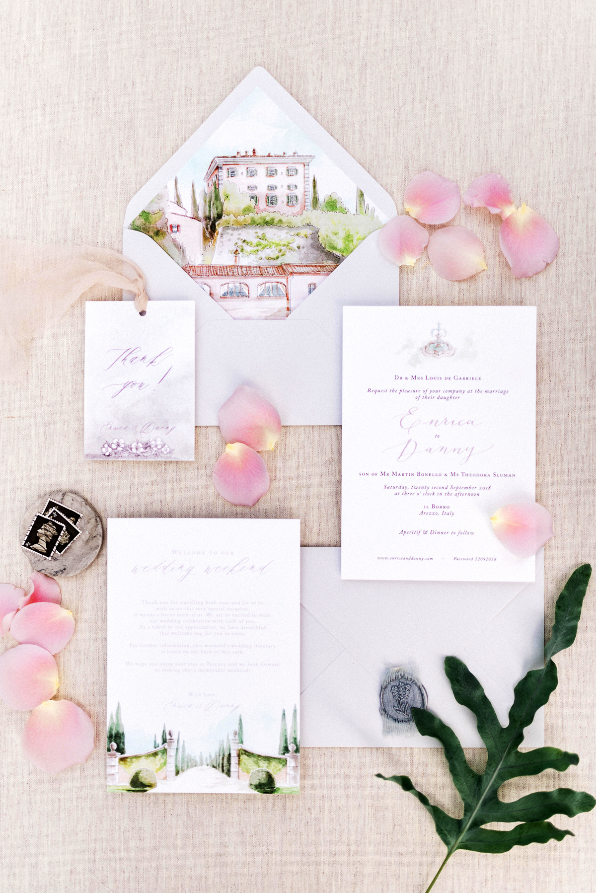 white stationary wedding invitation suit with garden design