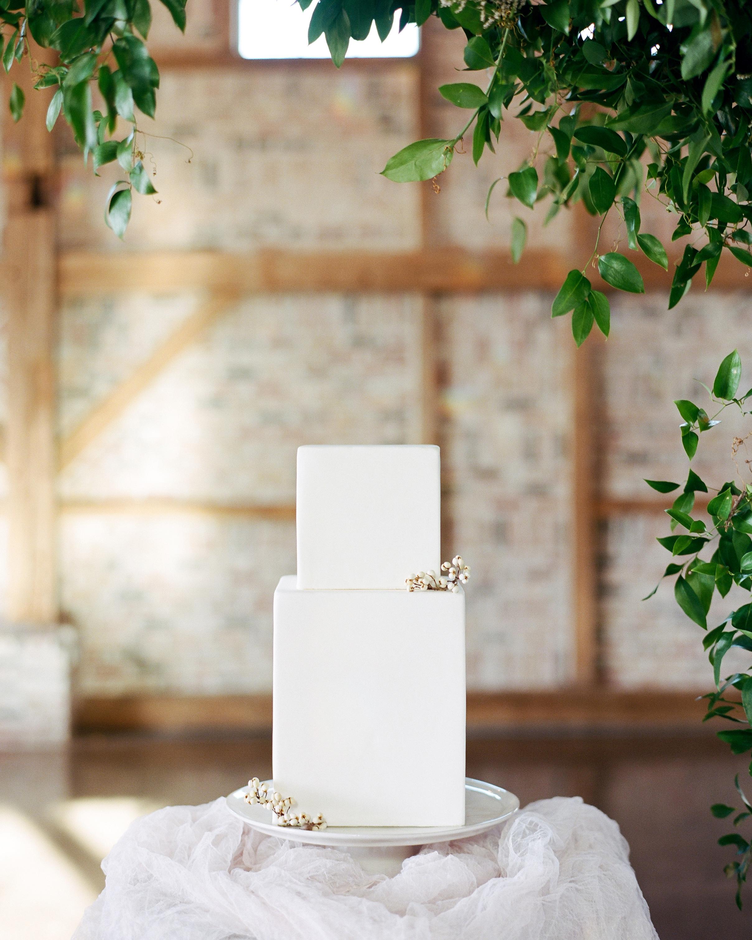 cubed wedding simple rectangular white cake