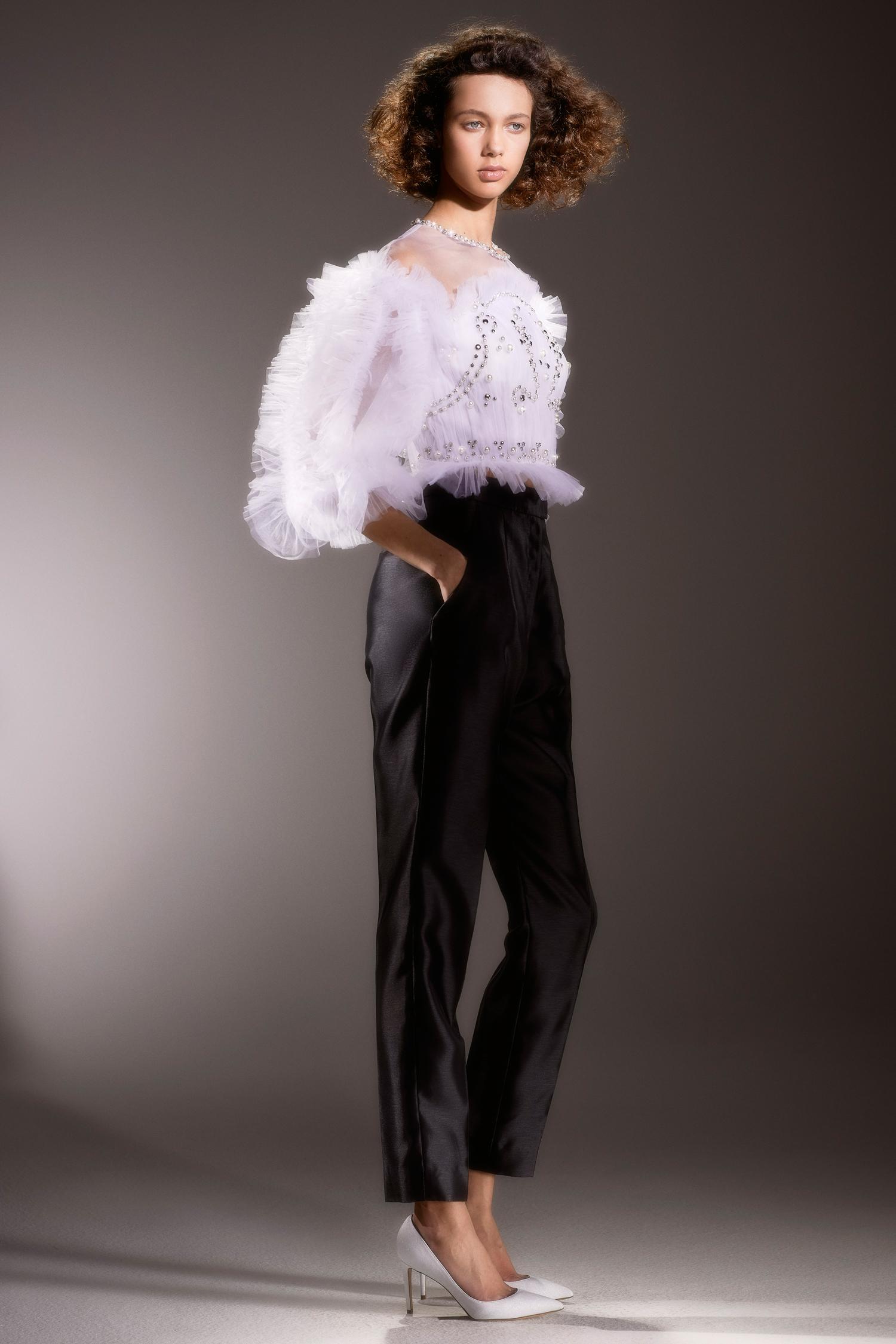 viktor and rolf beaded ruffled top and black pants wedding dress spring 2020