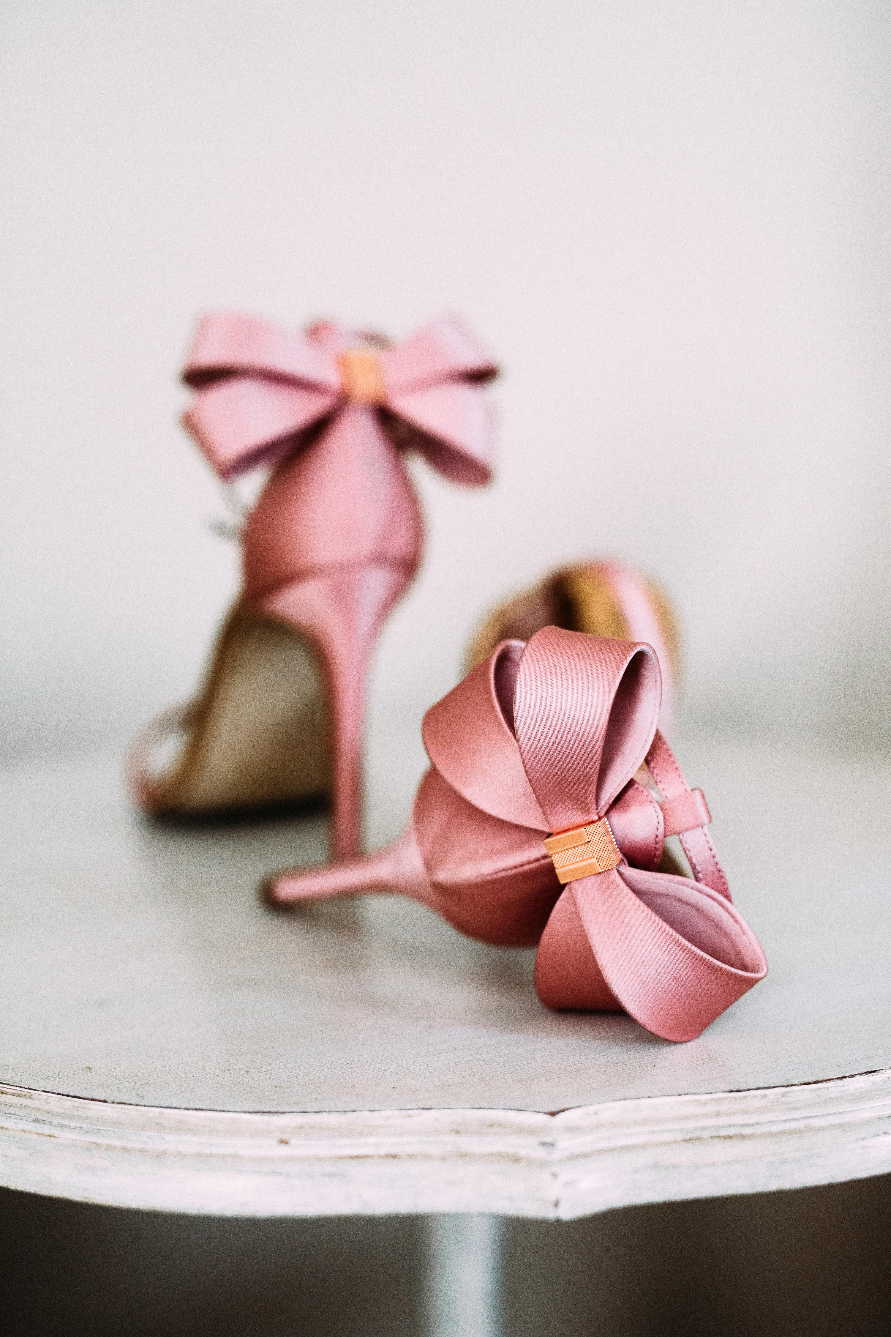 yolana douglas wedding bride pink shoes