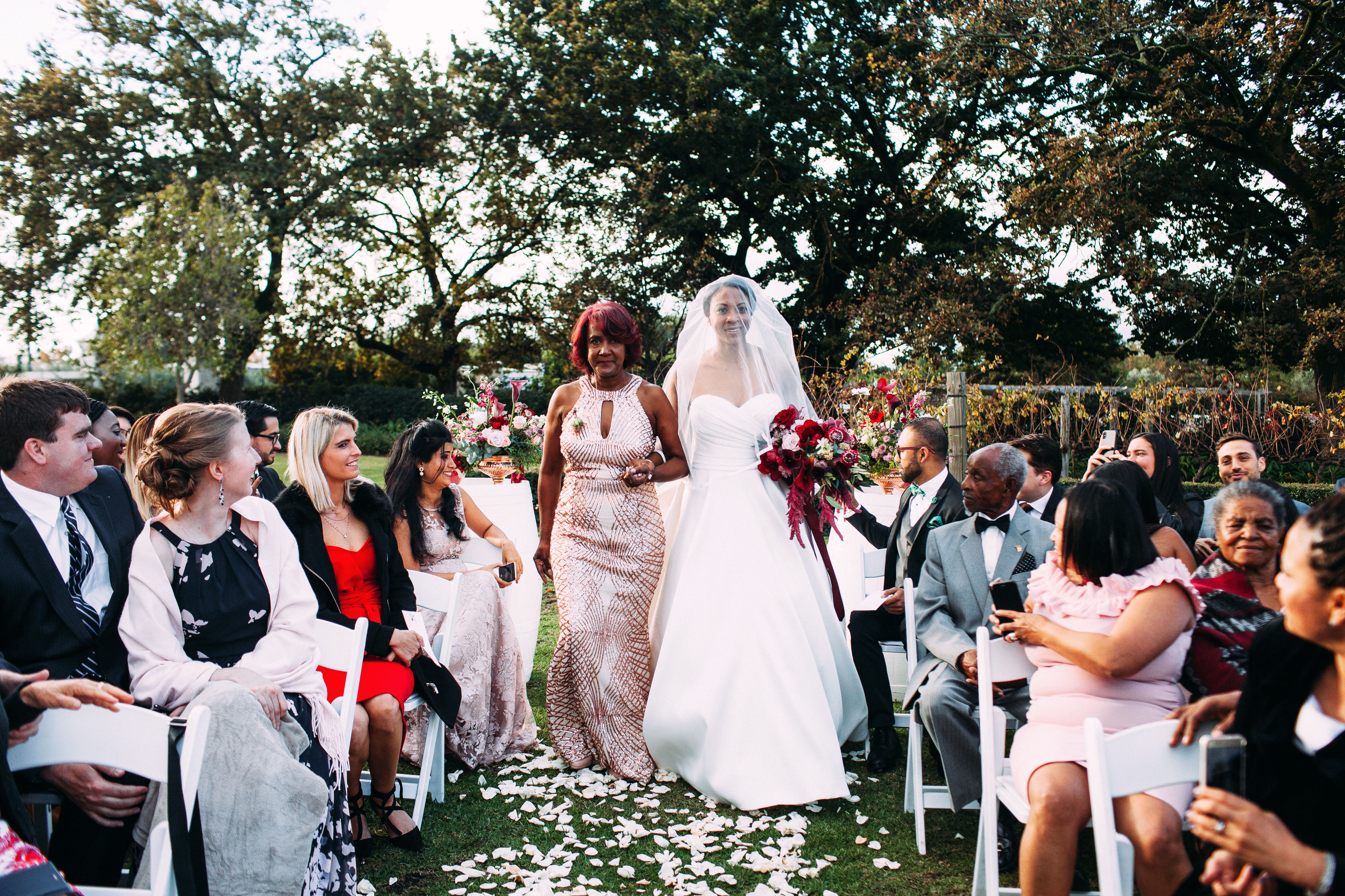 yolana douglas wedding ceremony bride mom processional