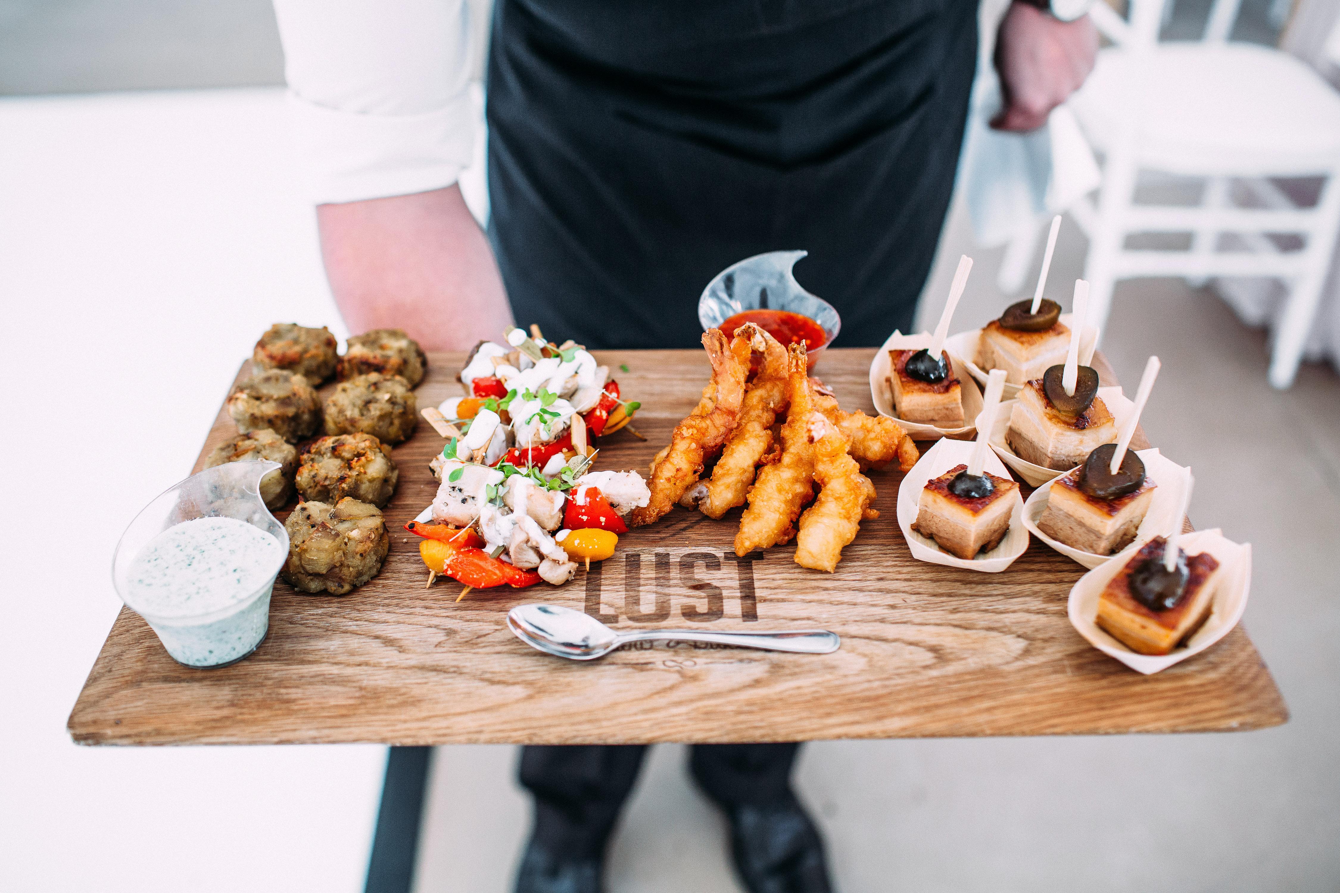 yolana douglas wedding reception food on platter