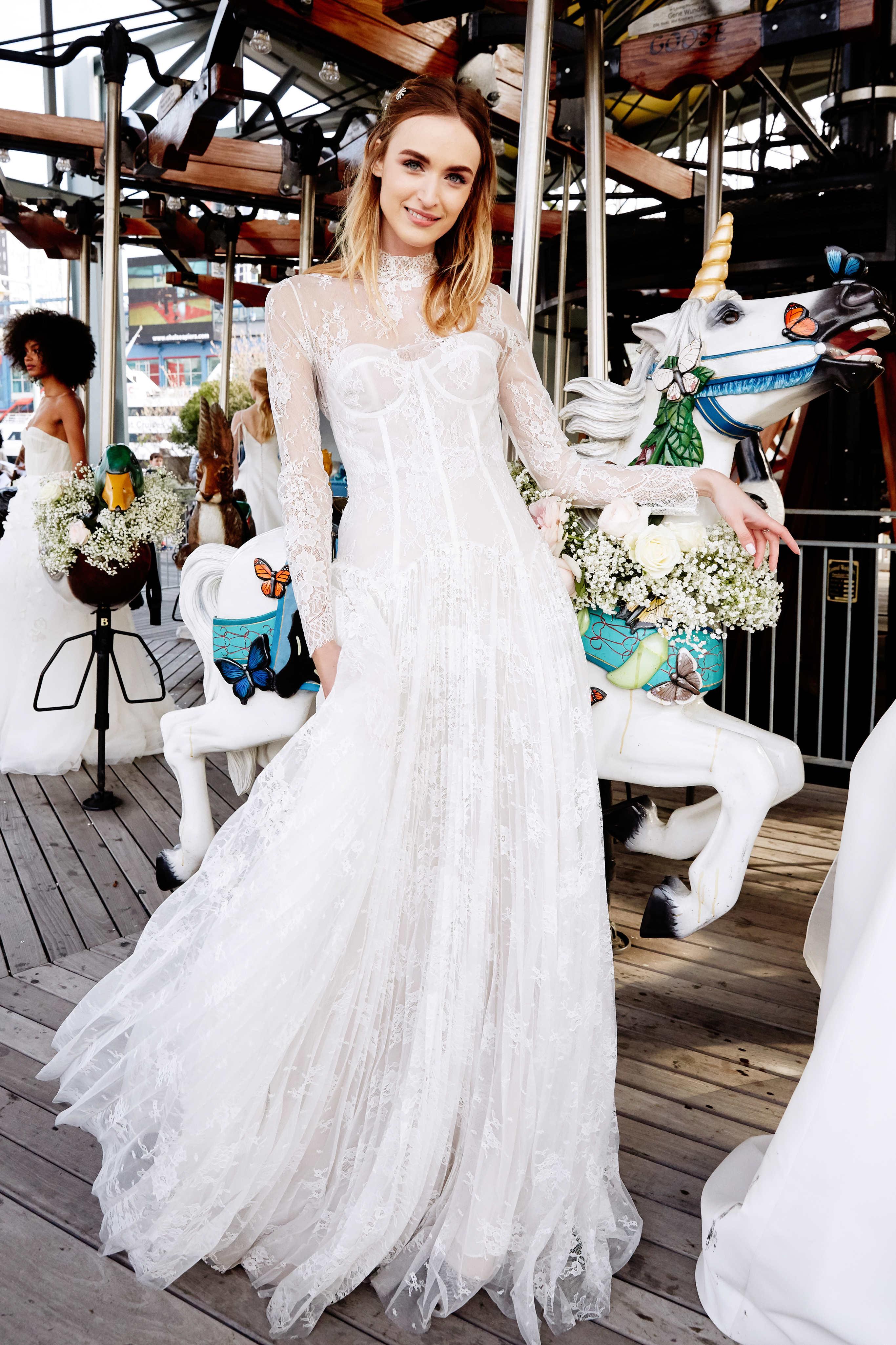 lela rose wedding dress bridal market spring 2020 high neck long sleeve lace exposed boning