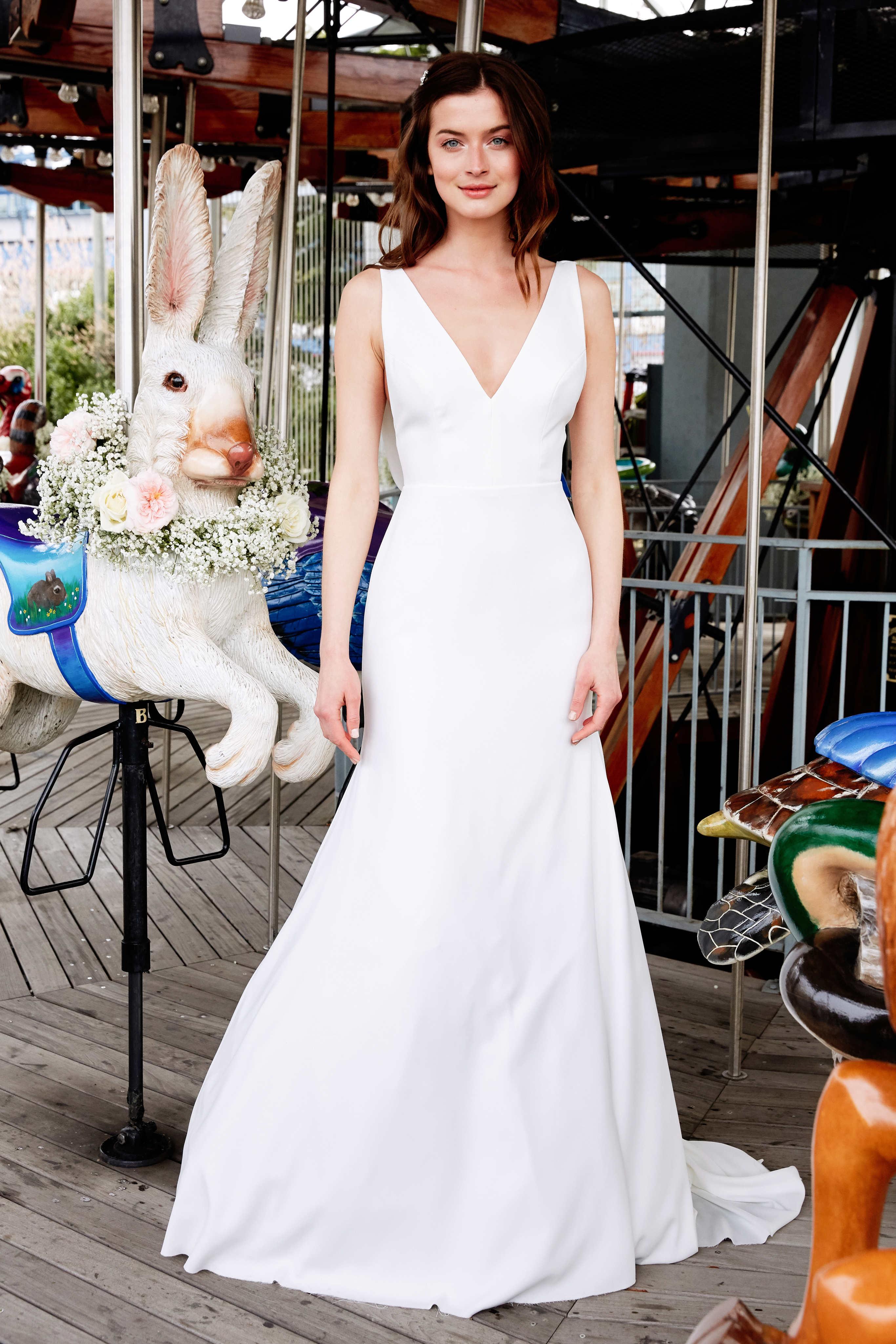 lela rose wedding dress bridal market spring 2020 wide strap deep v-neck mermaid