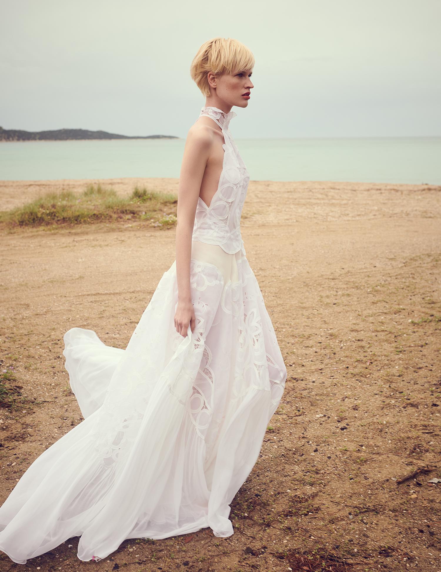 costarellos a line halter top wedding dress spring 2020