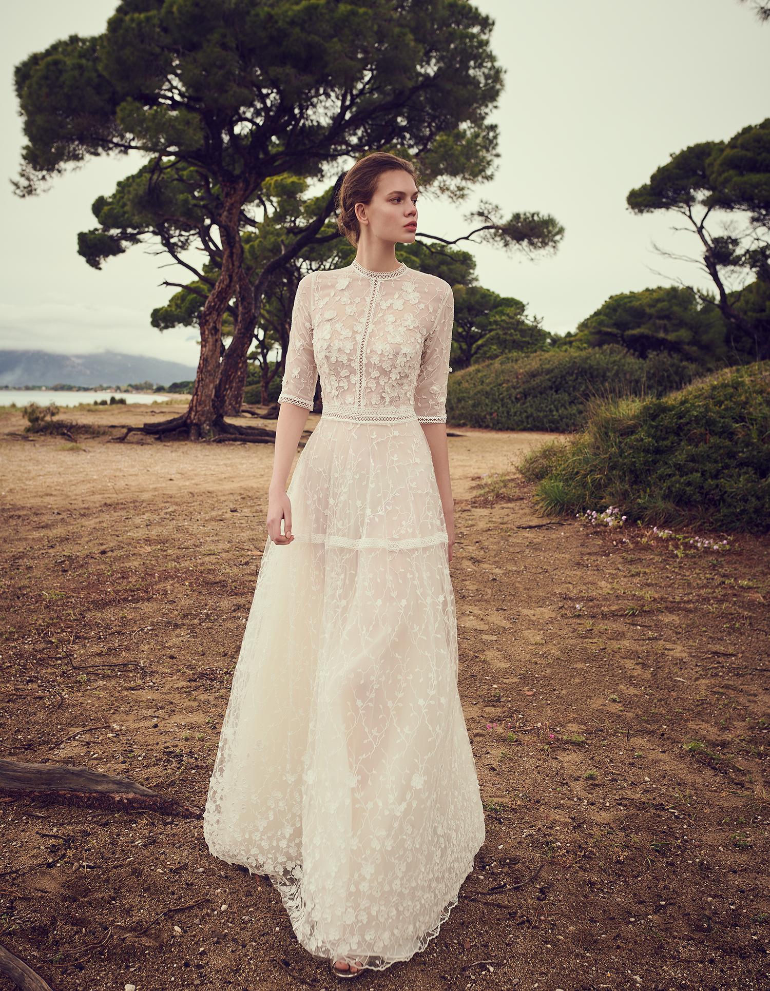 costarellos quarter length sleeves lace overlay wedding dress spring 2020