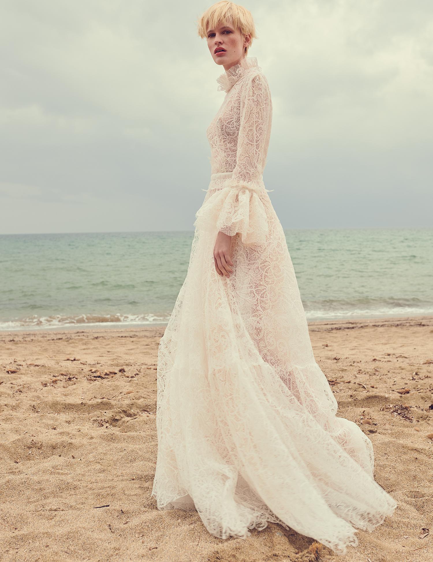 costarellos high neck ruffled sleeves sheer lace wedding dress spring 2020