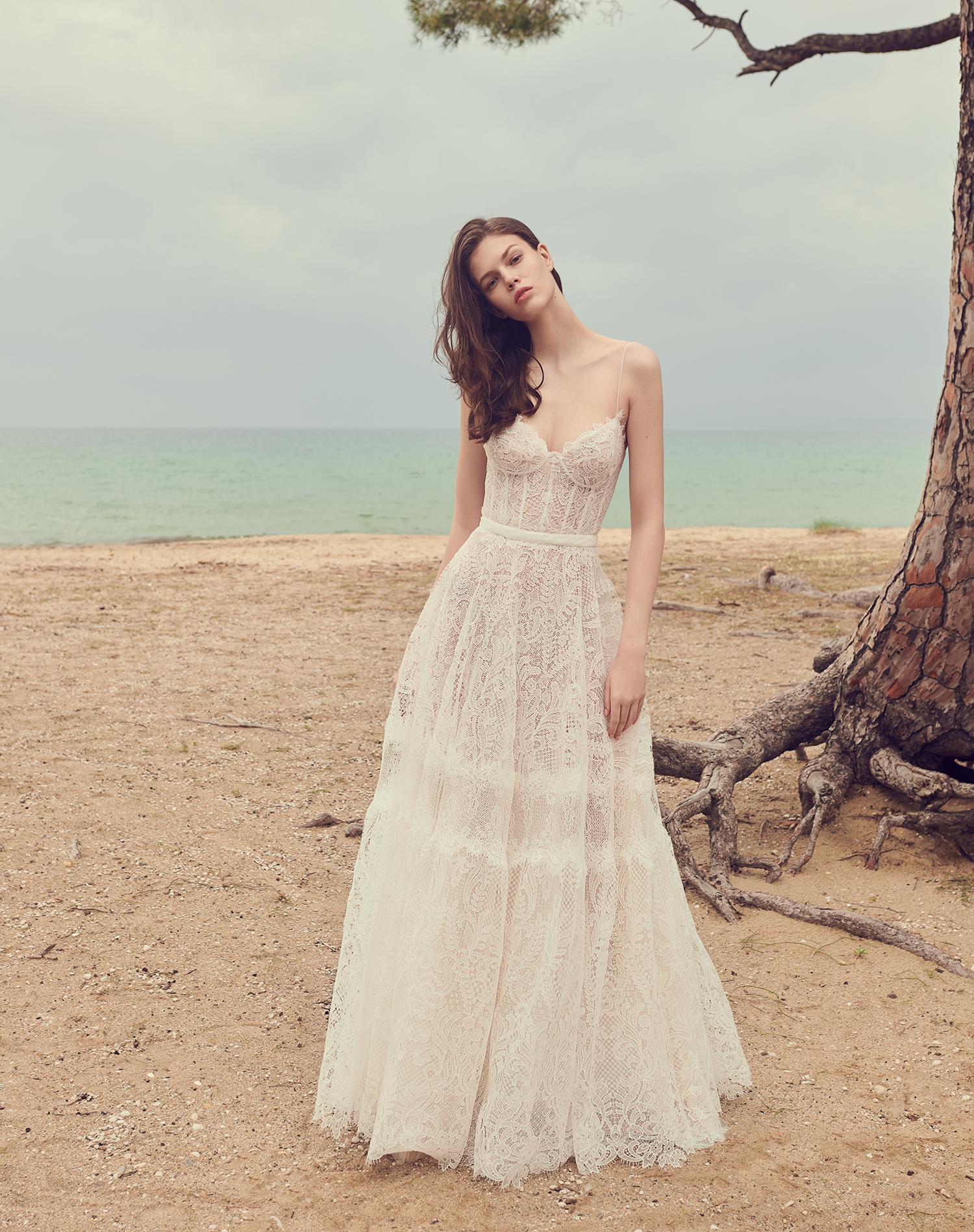 costarellos exposed boning bodice a line wedding dress spring 2020