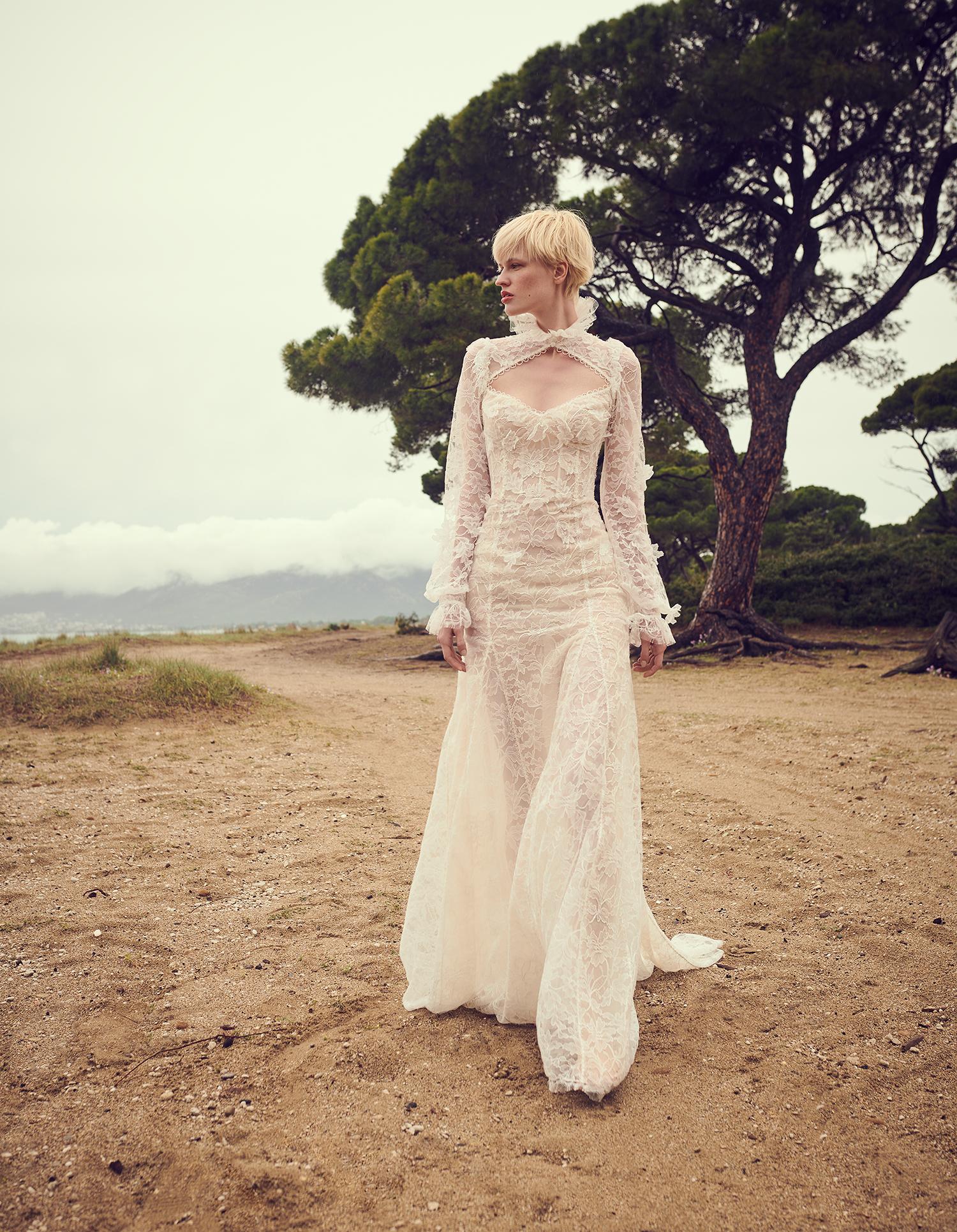 costarellos exposed high neck cutout long sleeve lace wedding dress spring 2020