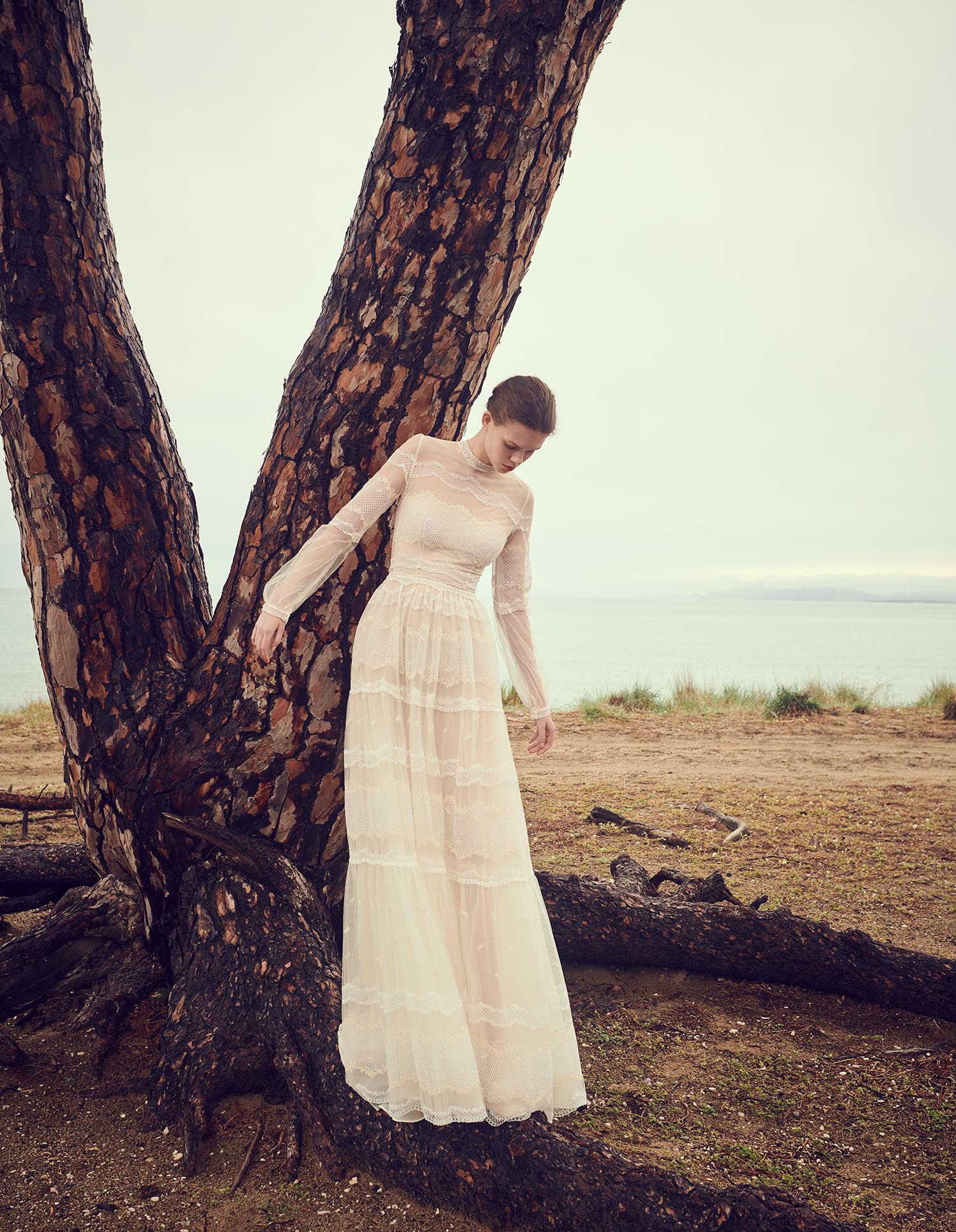 costarellos sheer long sleeve a line wedding dress spring 2020