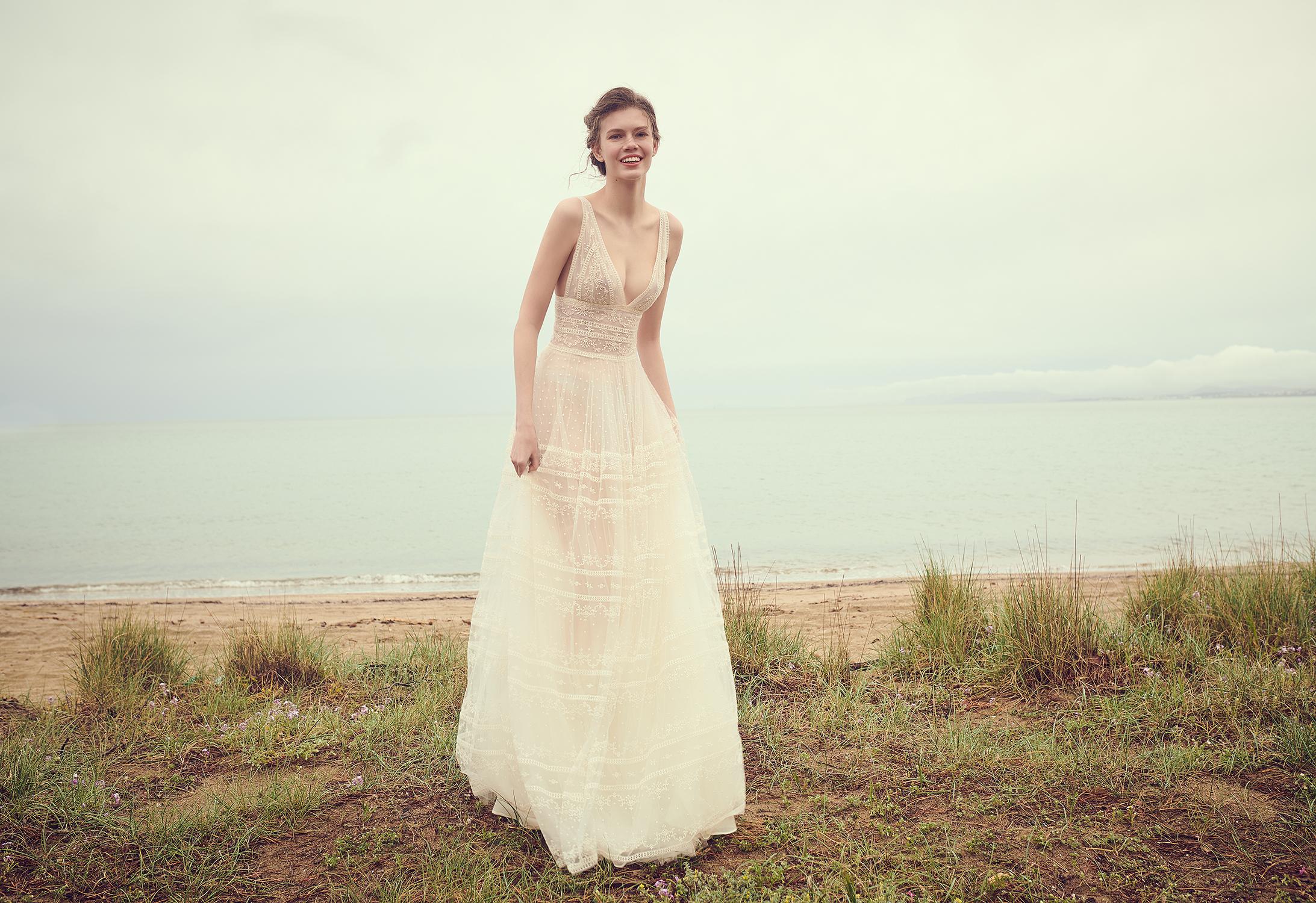 costarellos v neck sleeveless sheer a line wedding dress spring 2020
