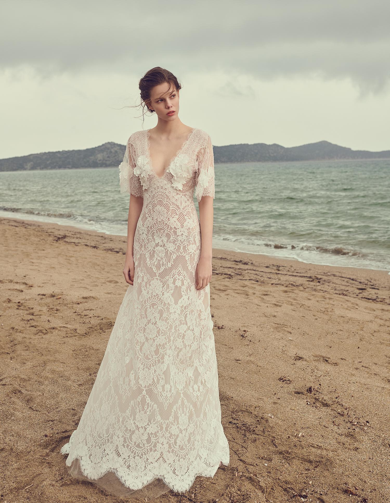 costarellos plunging v neck sheer sleeves a line wedding dress spring 2020