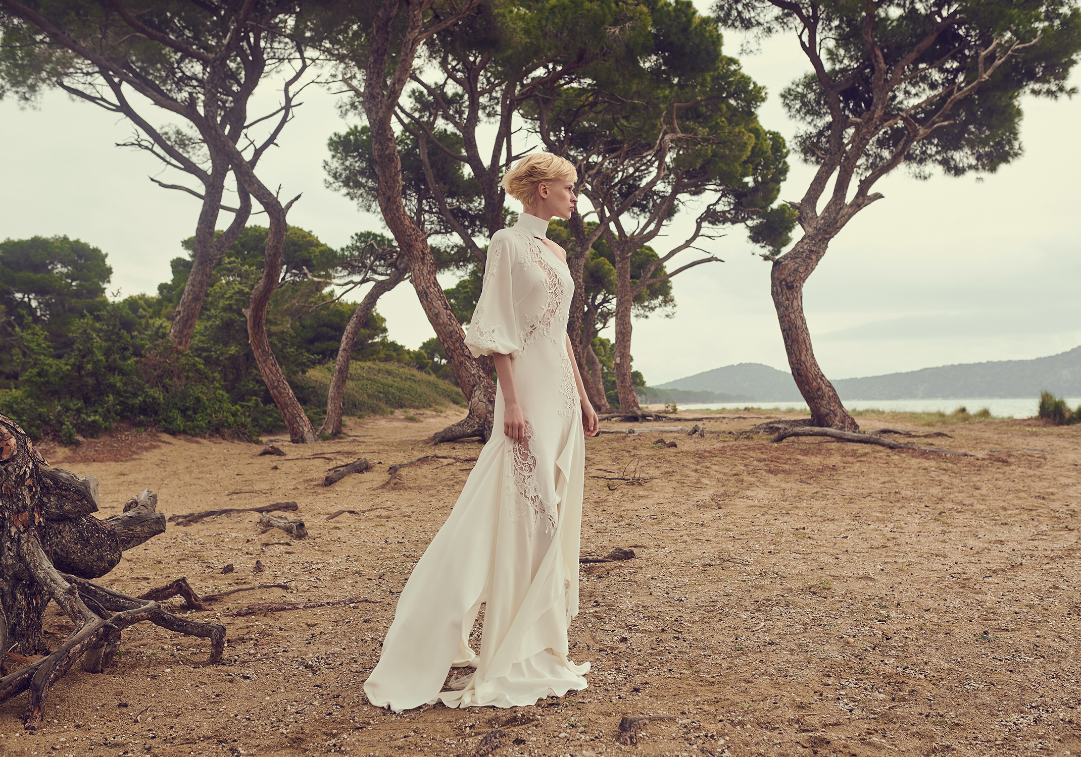 costarellos halter top one bell sleeve wedding dress spring 2020