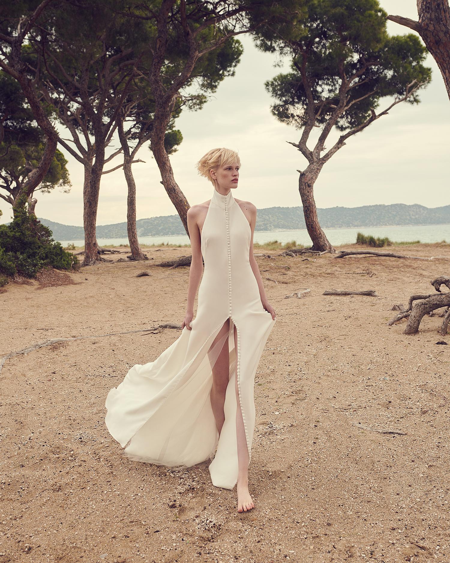 costarellos halter top sleeveless high slit wedding dress spring 2020
