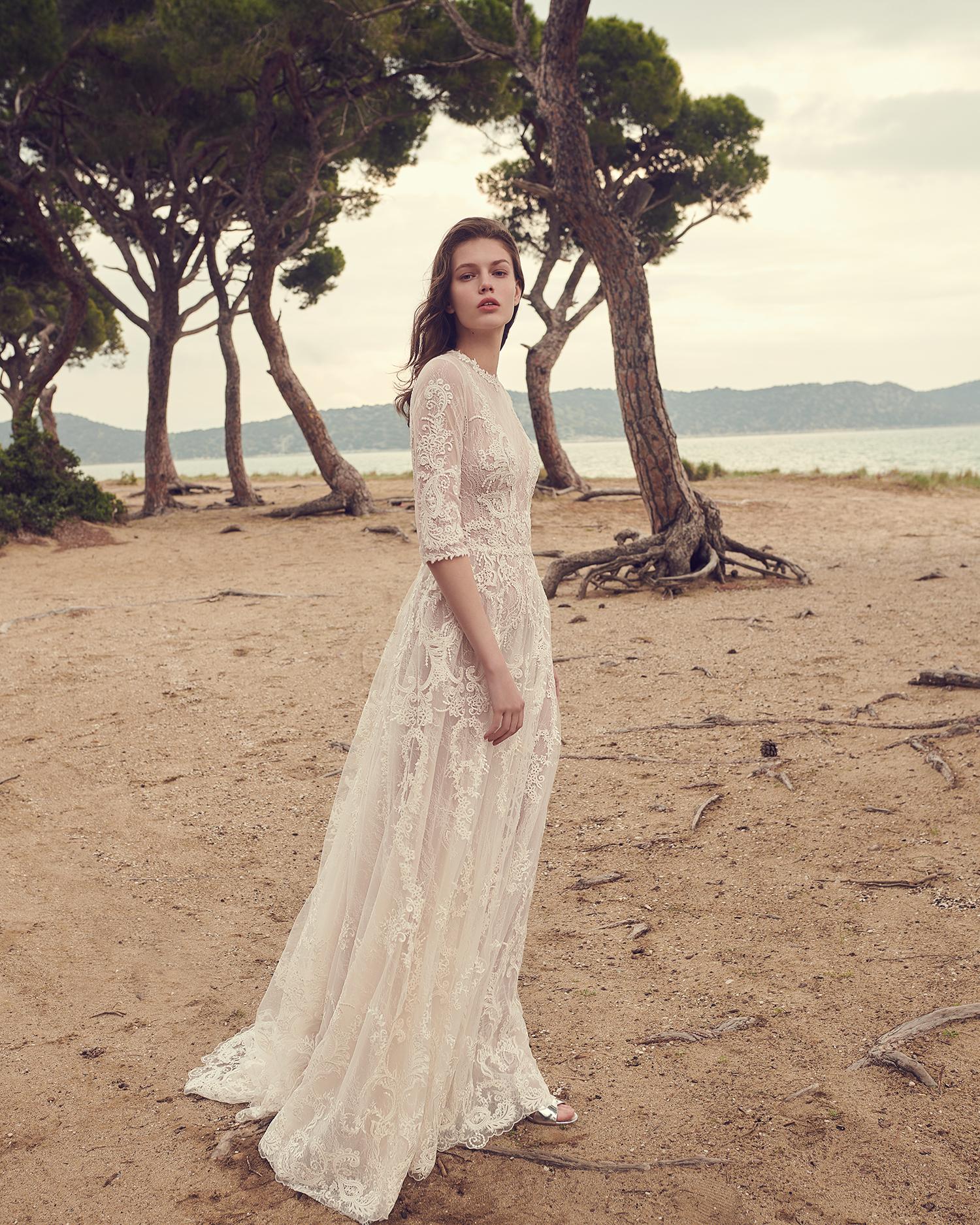costarellos high neck half sleeve sheer overlay wedding dress spring 2020