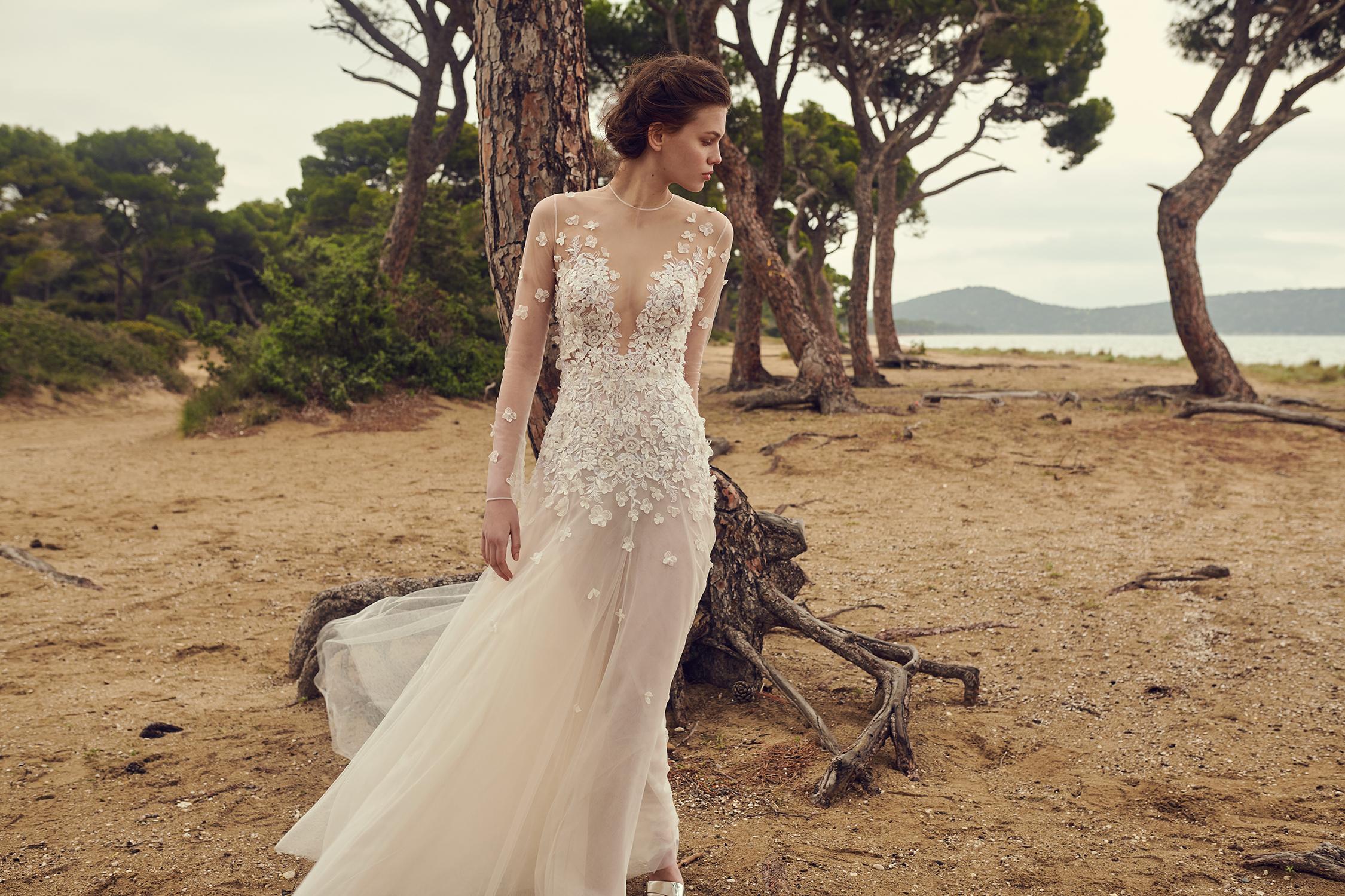 costarellos illusion high neck long sleeve floral applique wedding dress spring 2020