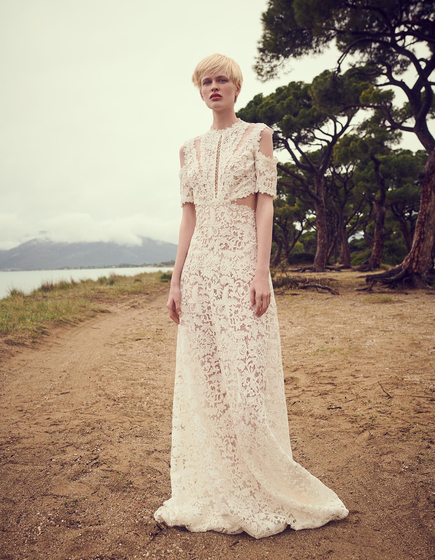 costarellos jewel cutout short sleeves lace wedding dress spring 2020