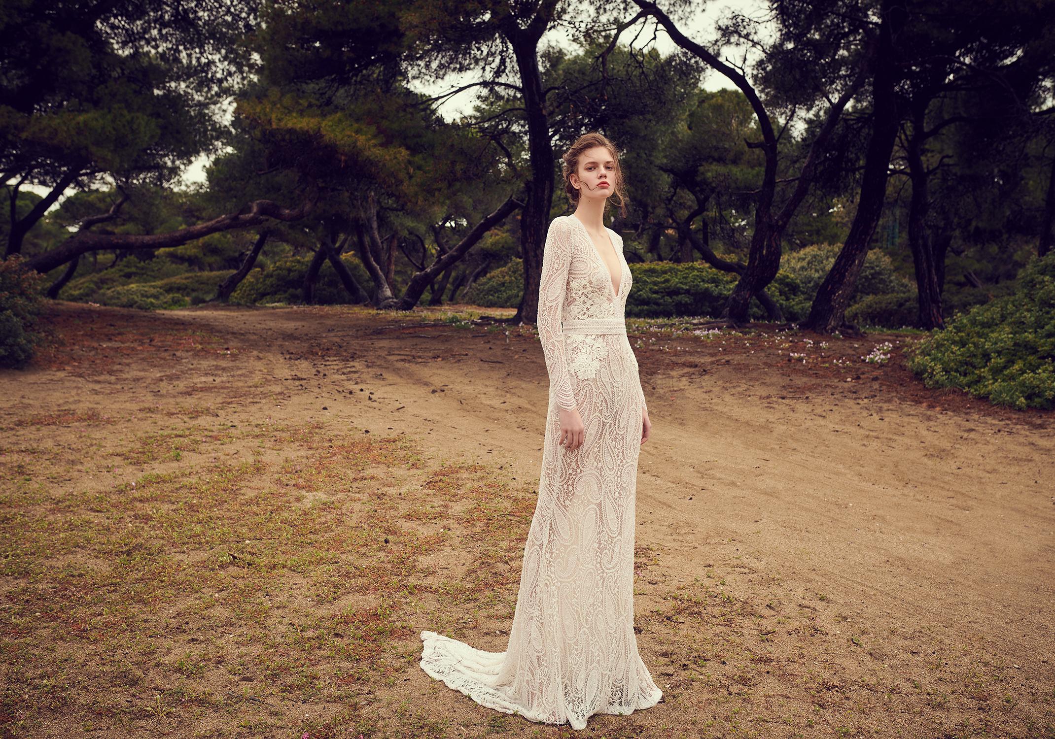 costarellos v neck long sleeve sheath wedding dress spring 2020