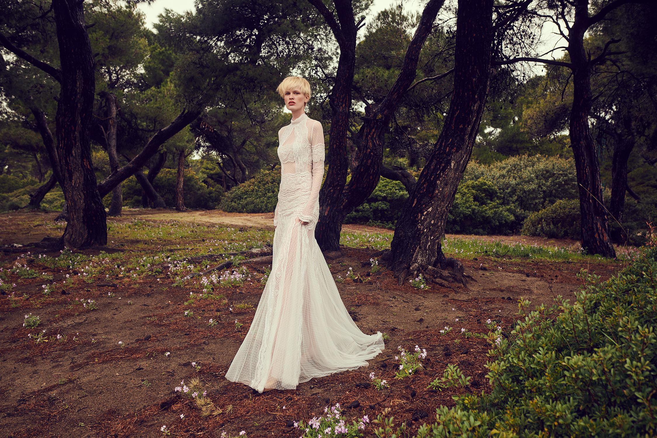costarellos high neck long sleeve sheer trumpet wedding dress spring 2020