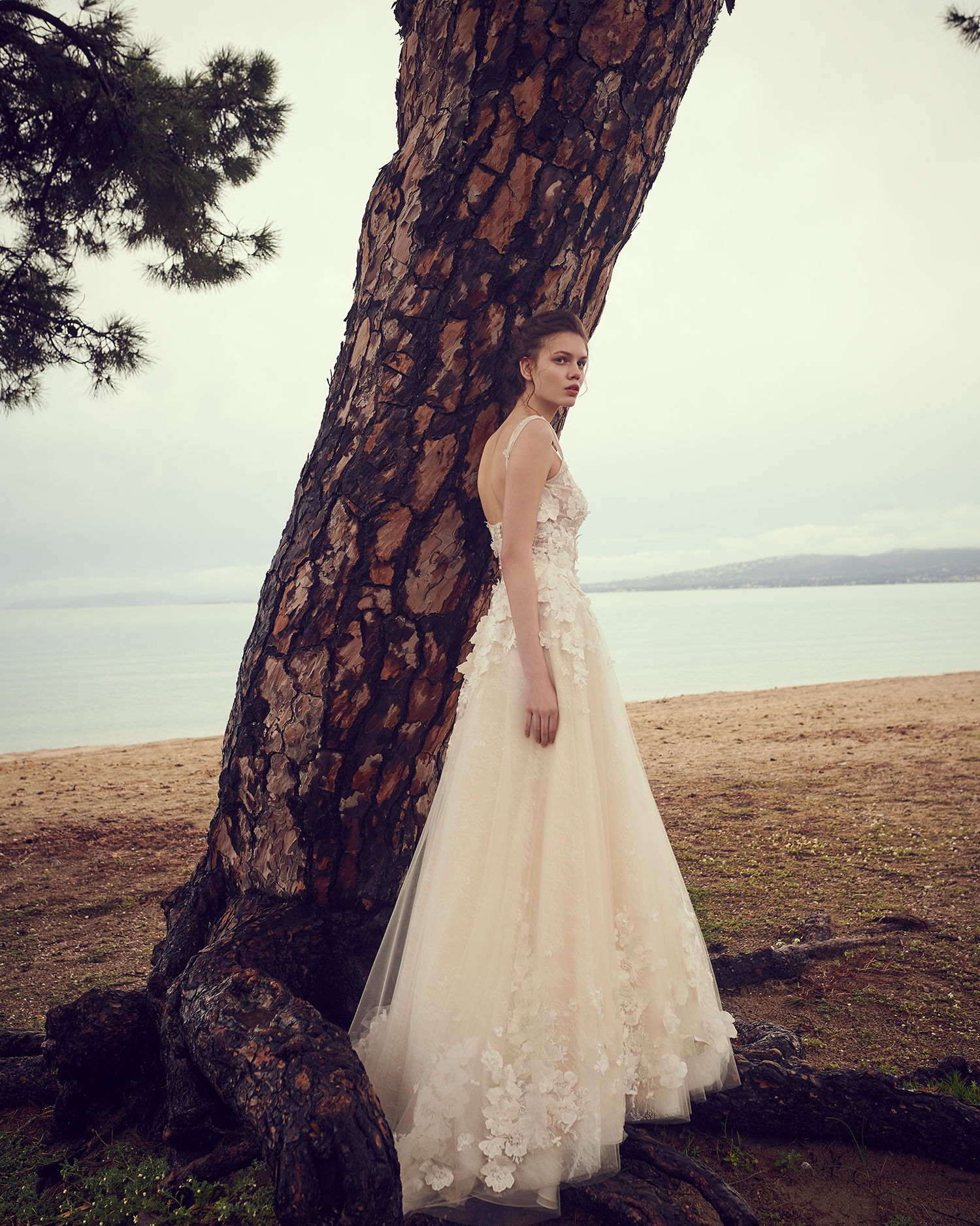 costarellos sleeveless floral applique a line wedding dress spring 2020