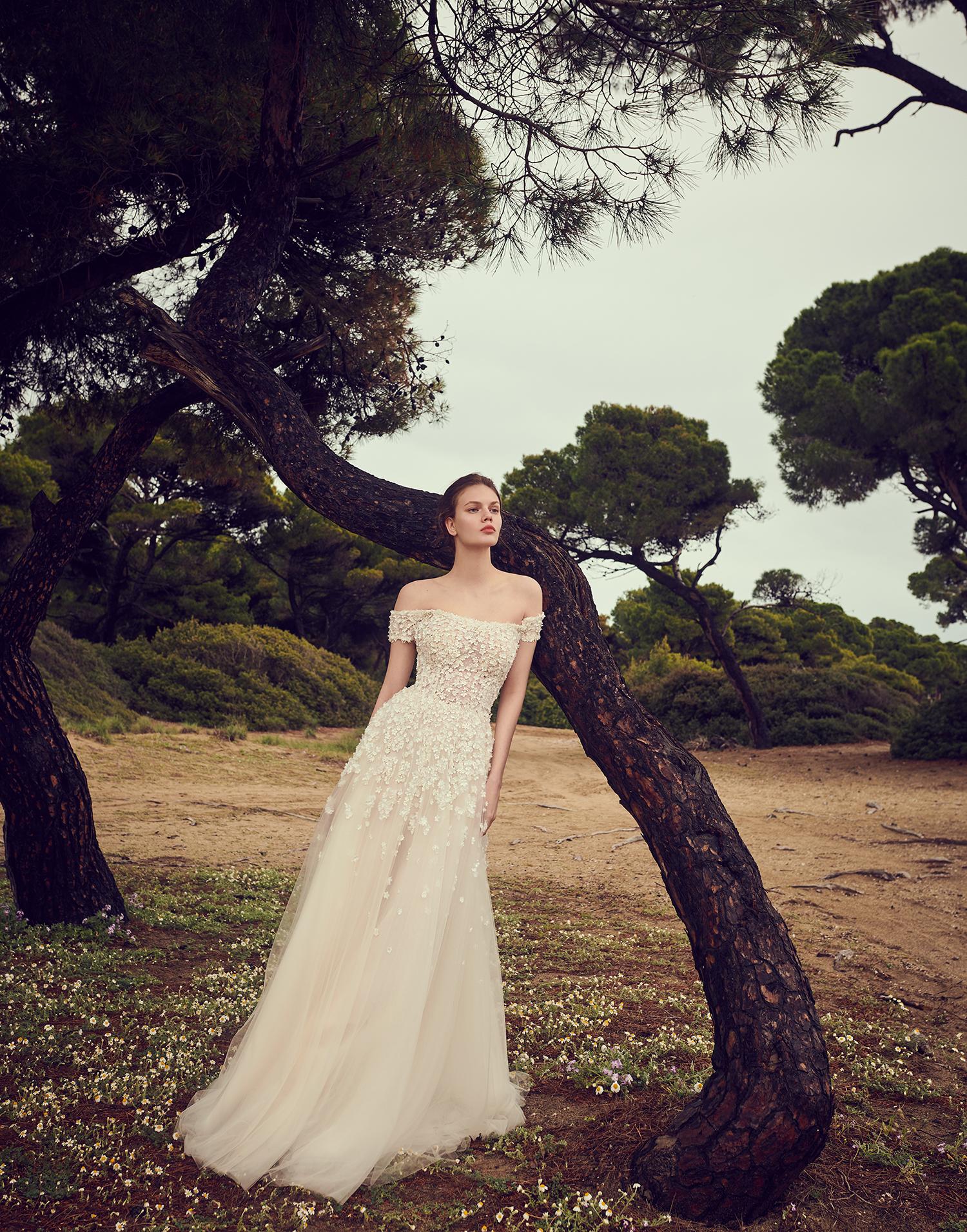 costarellos off the shoulder a line floral applique wedding dress spring 2020
